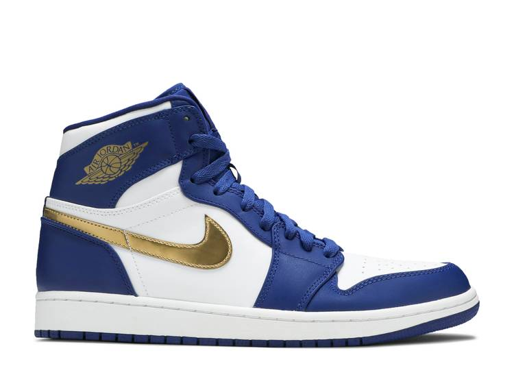 Air Jordan 1 Retro High Gold Medal Air Jordan 332550 406 Deep Royal Blue Metallic Gold Coin White Flight Club