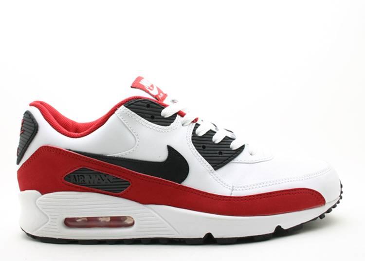 Air Max 90 Leather Nike 302519 102 White Black Varsity Red