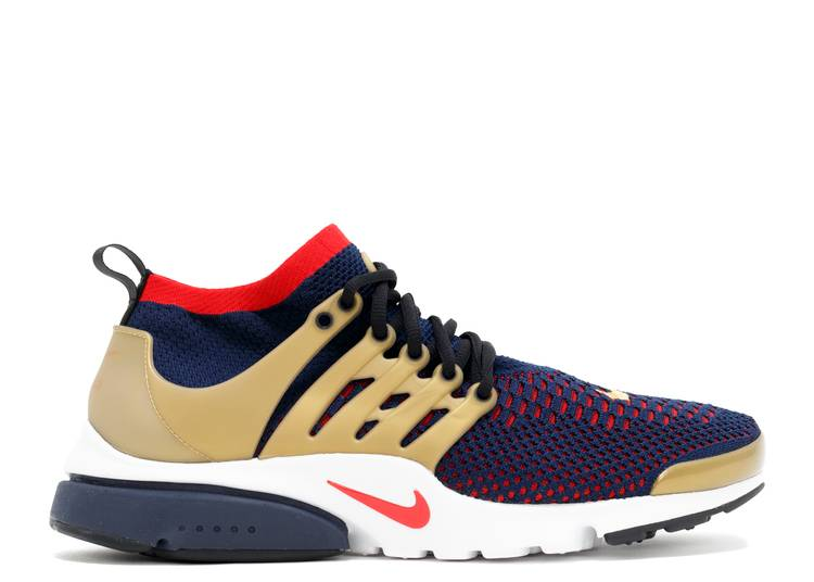 Especificidad despierta exposición  Air Presto Ultra Flyknit 'Olympic' - Nike - 835570 406 - college navy/comet  red-metallic gold-white | Flight Club