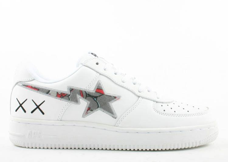 Kaws x Bapesta FS-001 Low 'White Red Gray'