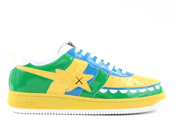 Kaws x Bapesta FS-029 Low 'Chompers - Yellow Green'