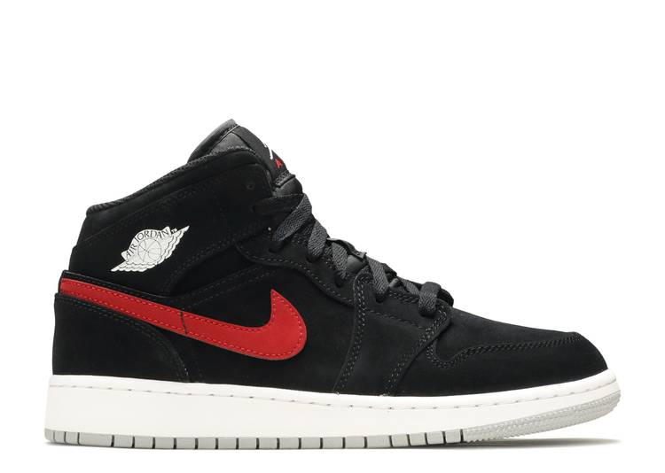 "air jordan 1 mid (gs) ""Black University Red"""