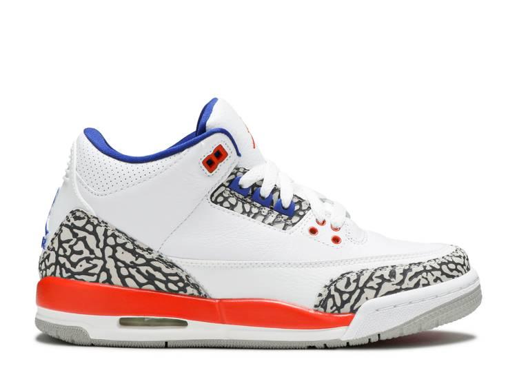 "GS Air Jordan Retro 3 /""Knicks/"" White//Old Royal-University Orange 398614 148"