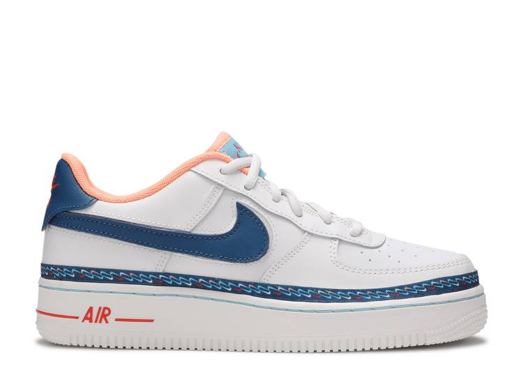 Nike Air Force 1 Low GS Air Force 1 Low GS 'Swoosh Chain' - Nike - CK9708 100 - white/blue ...