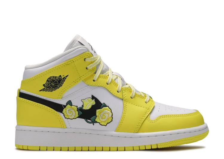 Air Jordan 1 Mid SE GS 'Rose Patch - Dynamic Yellow'