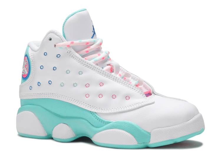 Air Jordan 13 Retro Ps Air Jordan 439669 100 White Soar Aurora Green Digital Pink Flight Club
