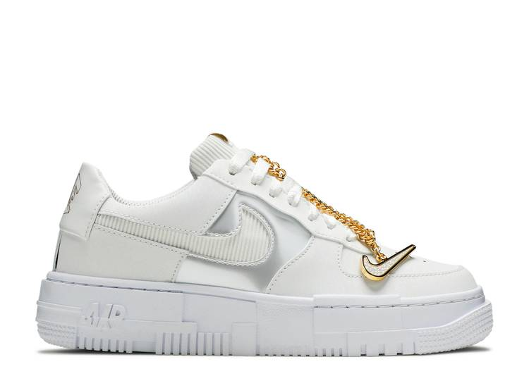 Wmns Air Force 1 Pixel 'Grey Gold Chain'
