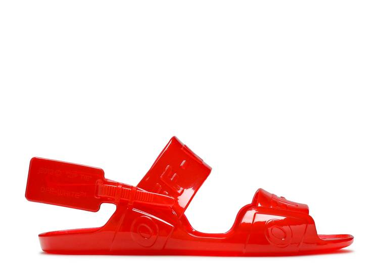 Off-White Wmns Sheer Zip Tie Sandal 'Jelly Red'