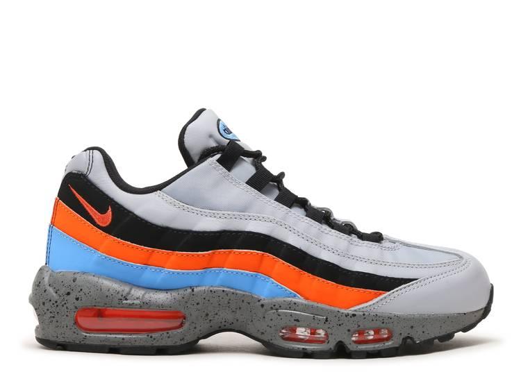nike air max 95 premium wolf grey orange & blue