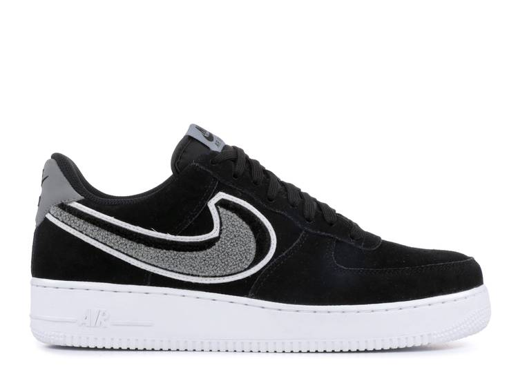 Air Force 1 07 Lv8 Chenille Swoosh Nike 823511 014 Black Cool Grey White Flight Club