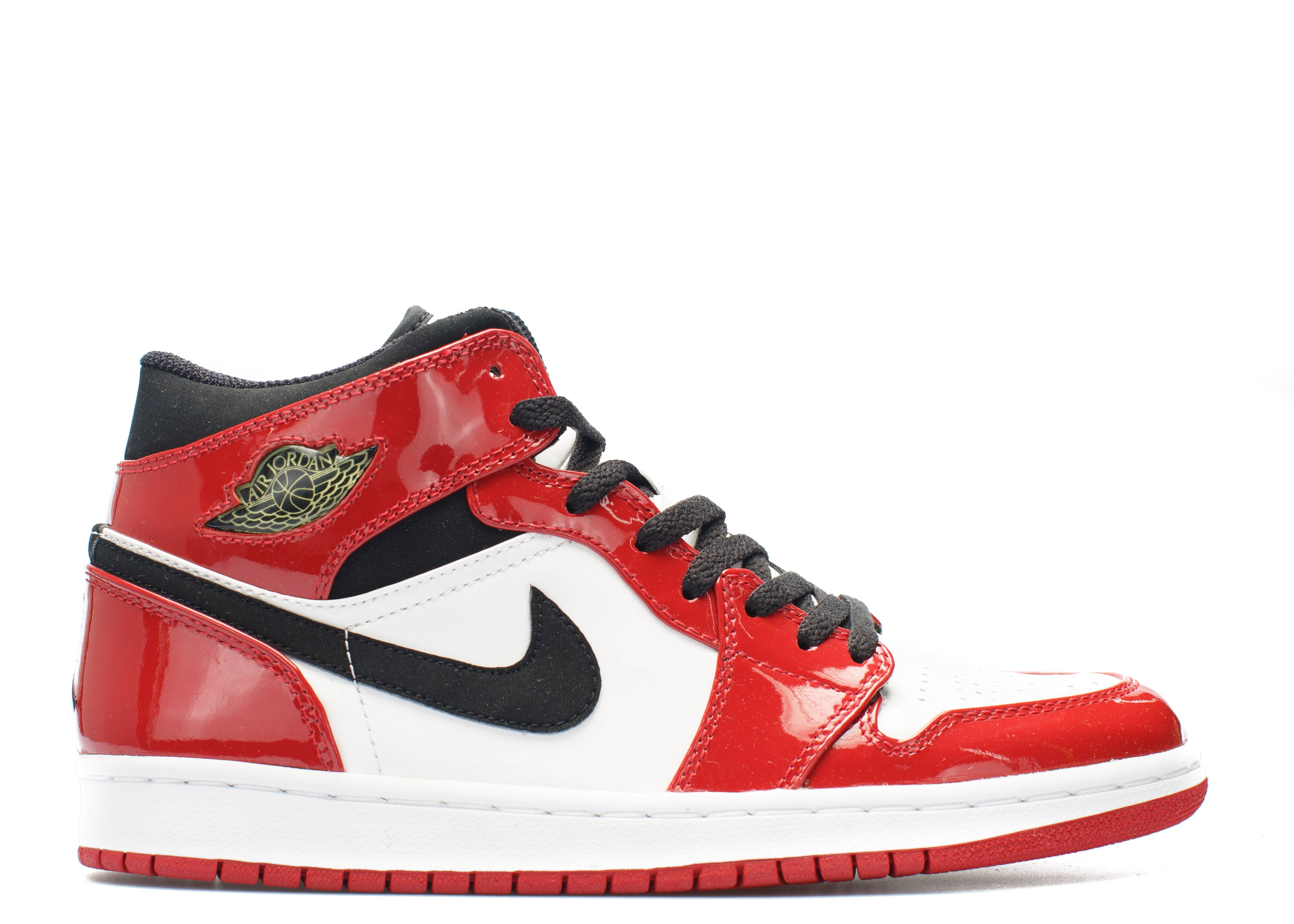 air jordan 1 retro red leather black and white