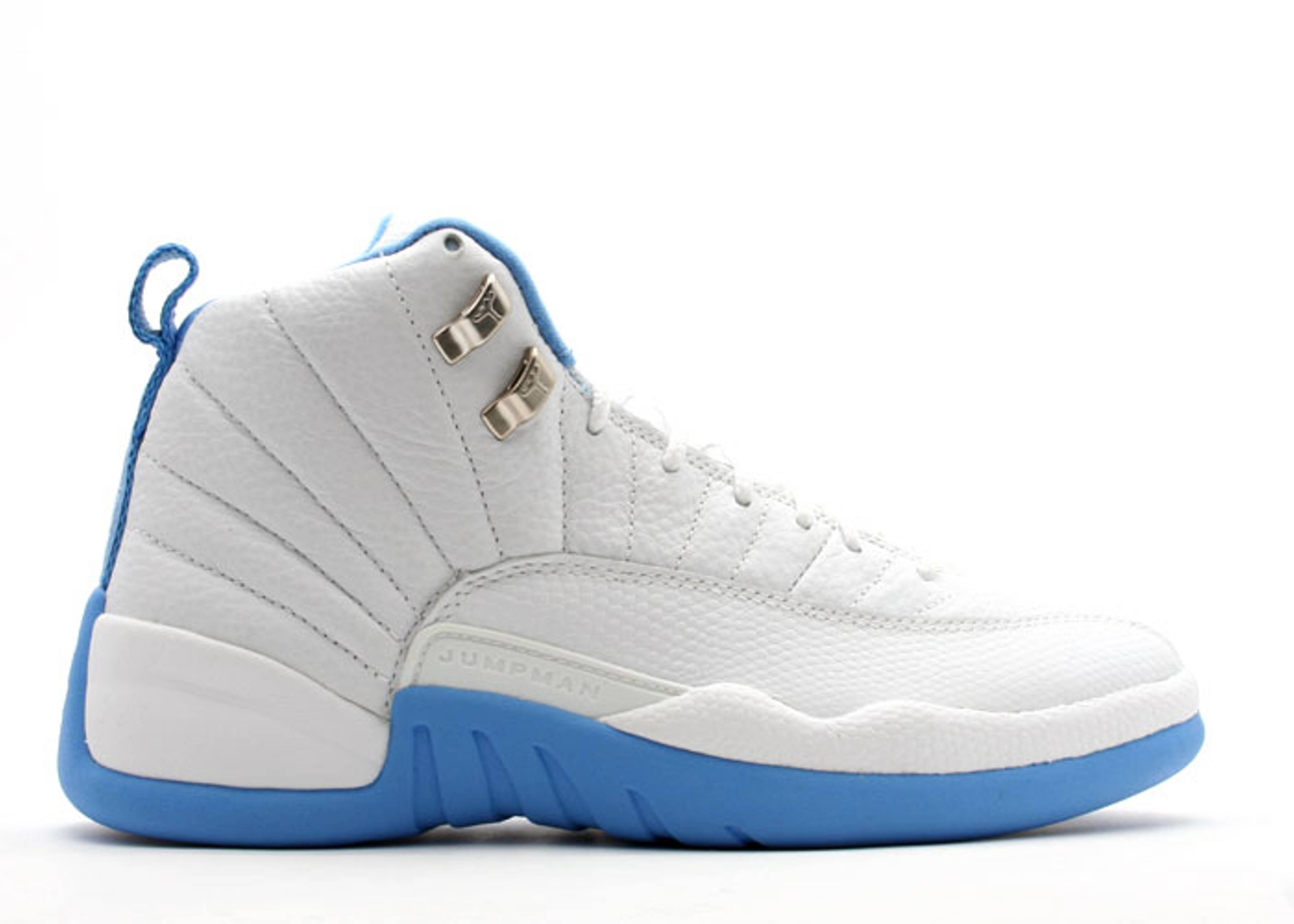 308243 142 Air Jordan 12 Retro Womens White University Blue Shoes