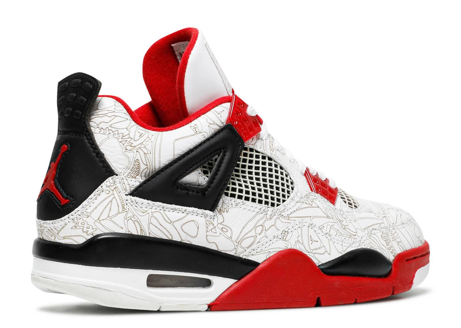 Air Jordan 4 Blanc / Fac Pointeur Laser Rouge-noir