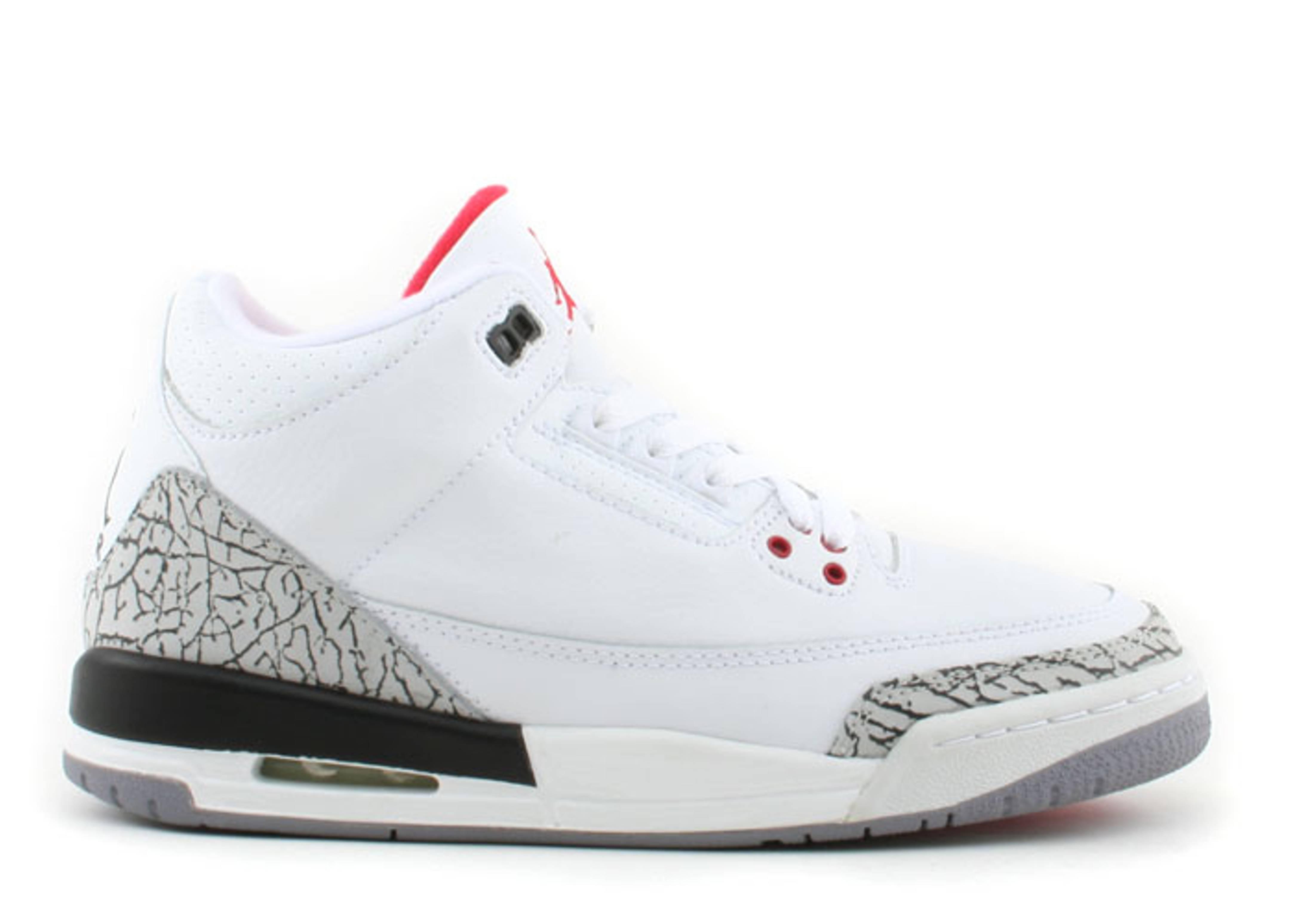 Air Jordan 3 Gs De Ciment Blanc