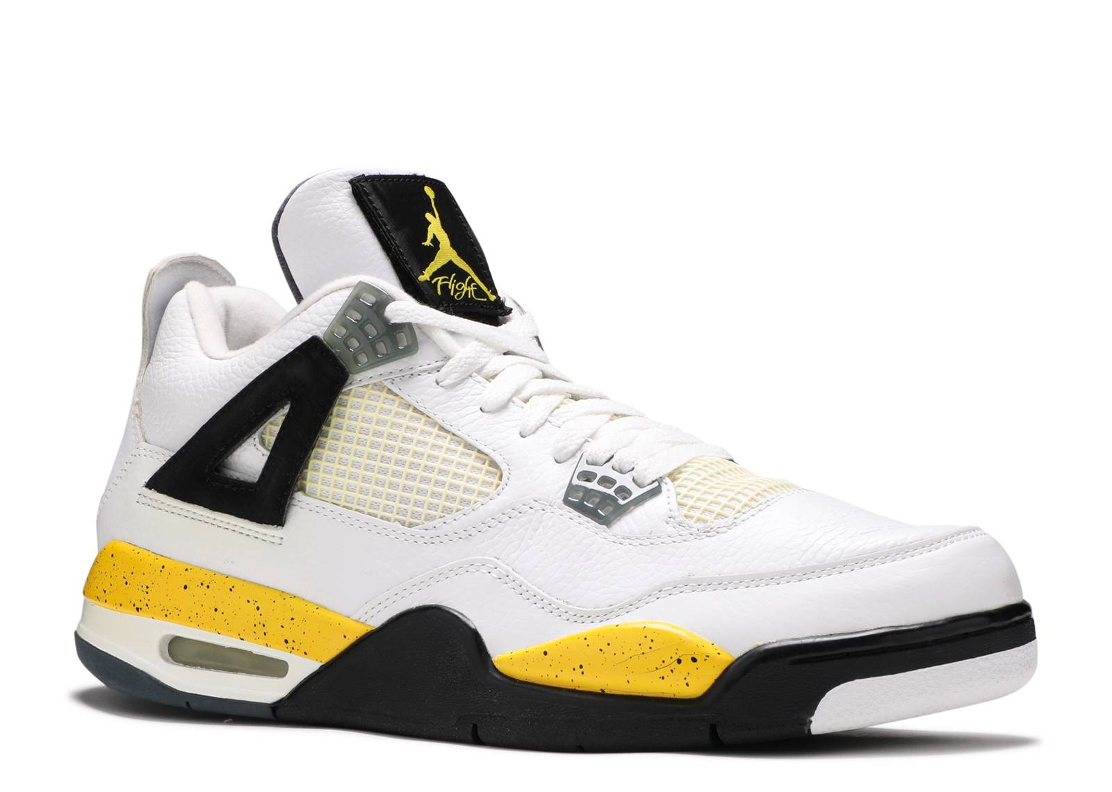 air jordan 4 retro ls - white/tour yellow-dark blue grey ...