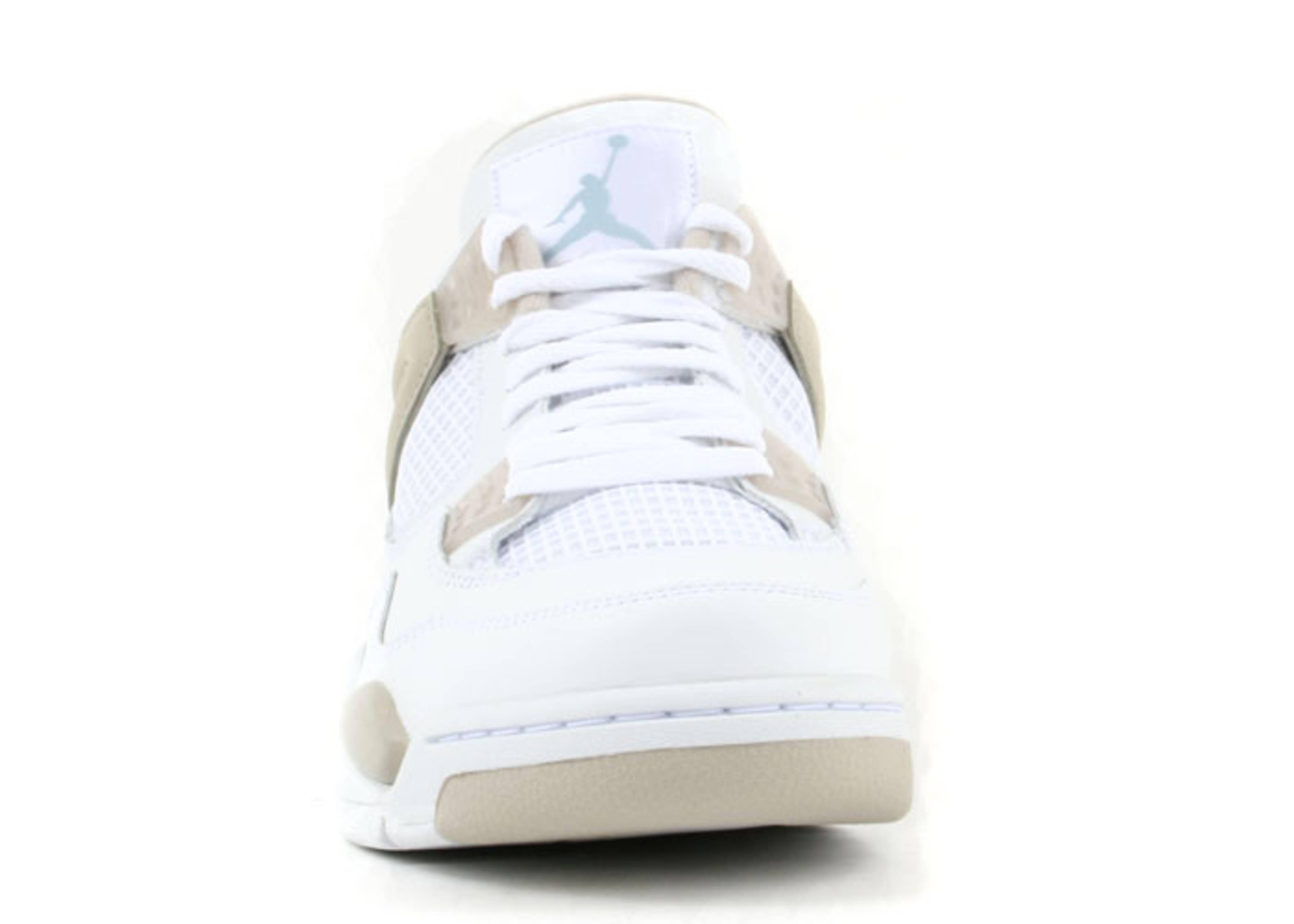 Air Jordan 4 Blanc / Frontière Sable Bleu-lumière Des Femmes Portent
