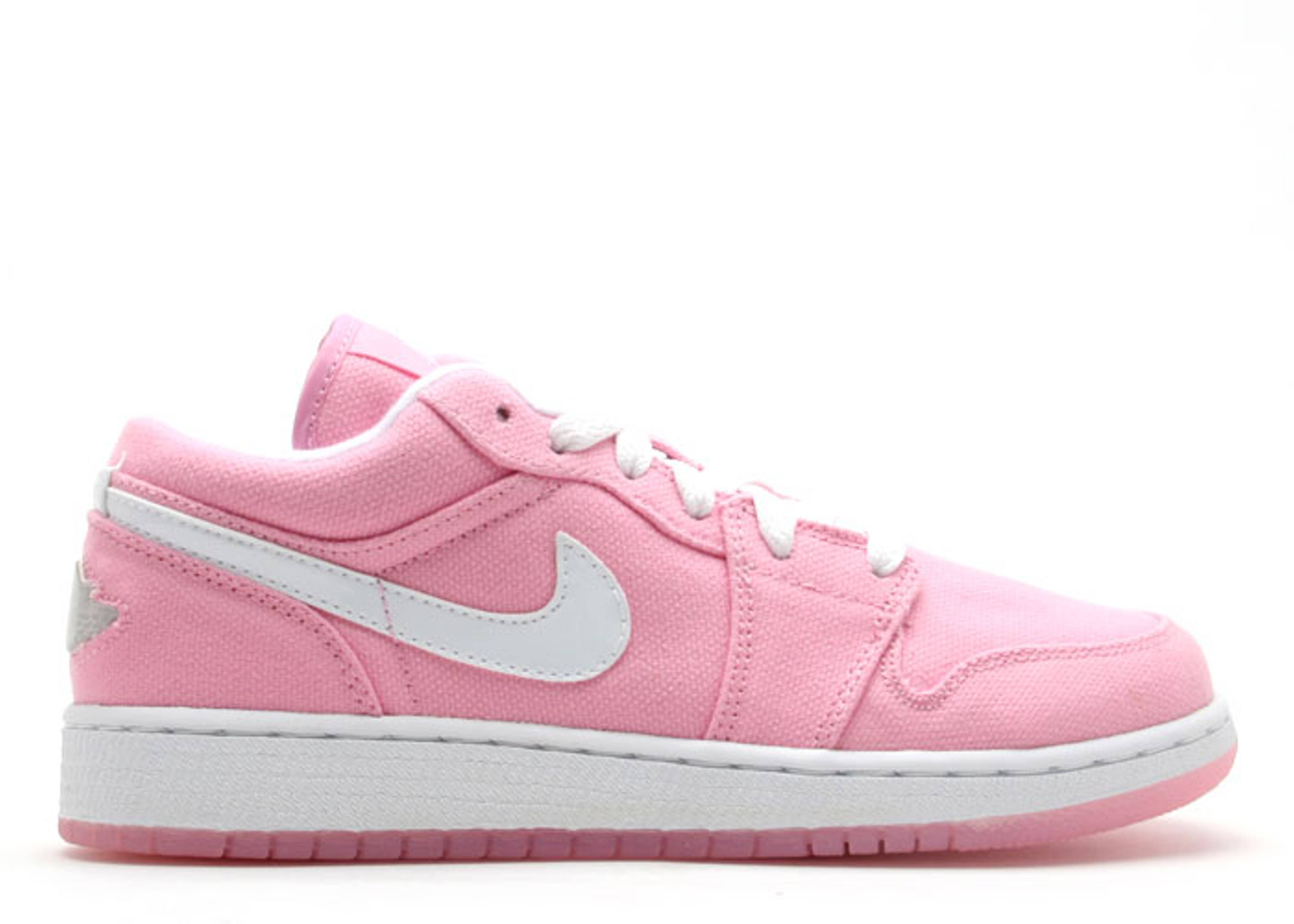 3e6cad8d67e7 Jordan 1 Retro Canvas Low (gs) - Air Jordan - 316098 611 - real pink white- metallic silver