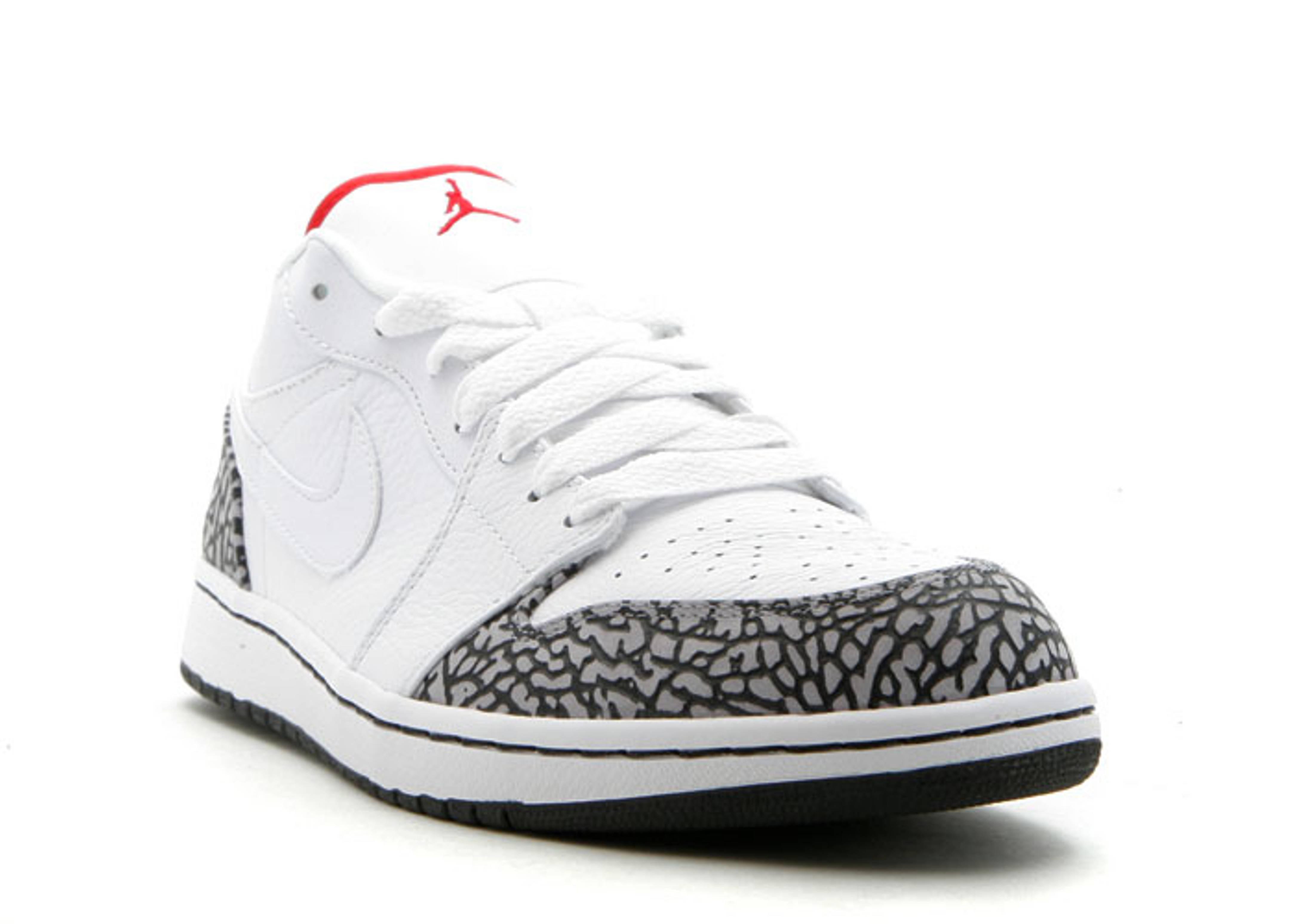 meilleur endroit fiable à vendre Air Jordan 1 Phat Bas Gris Ciment Rouge De  Fac Blanc