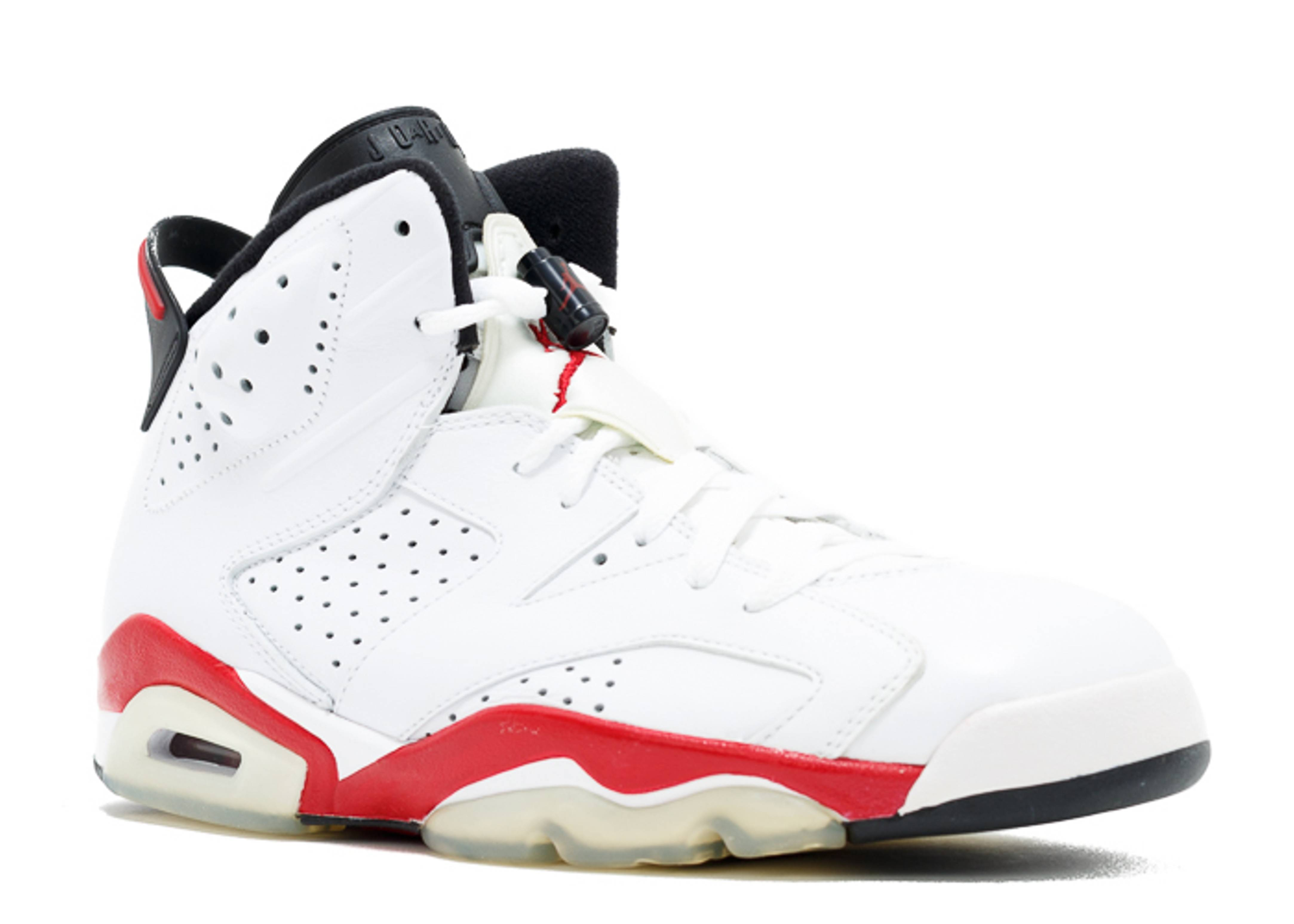 red and white air jordans 6 white