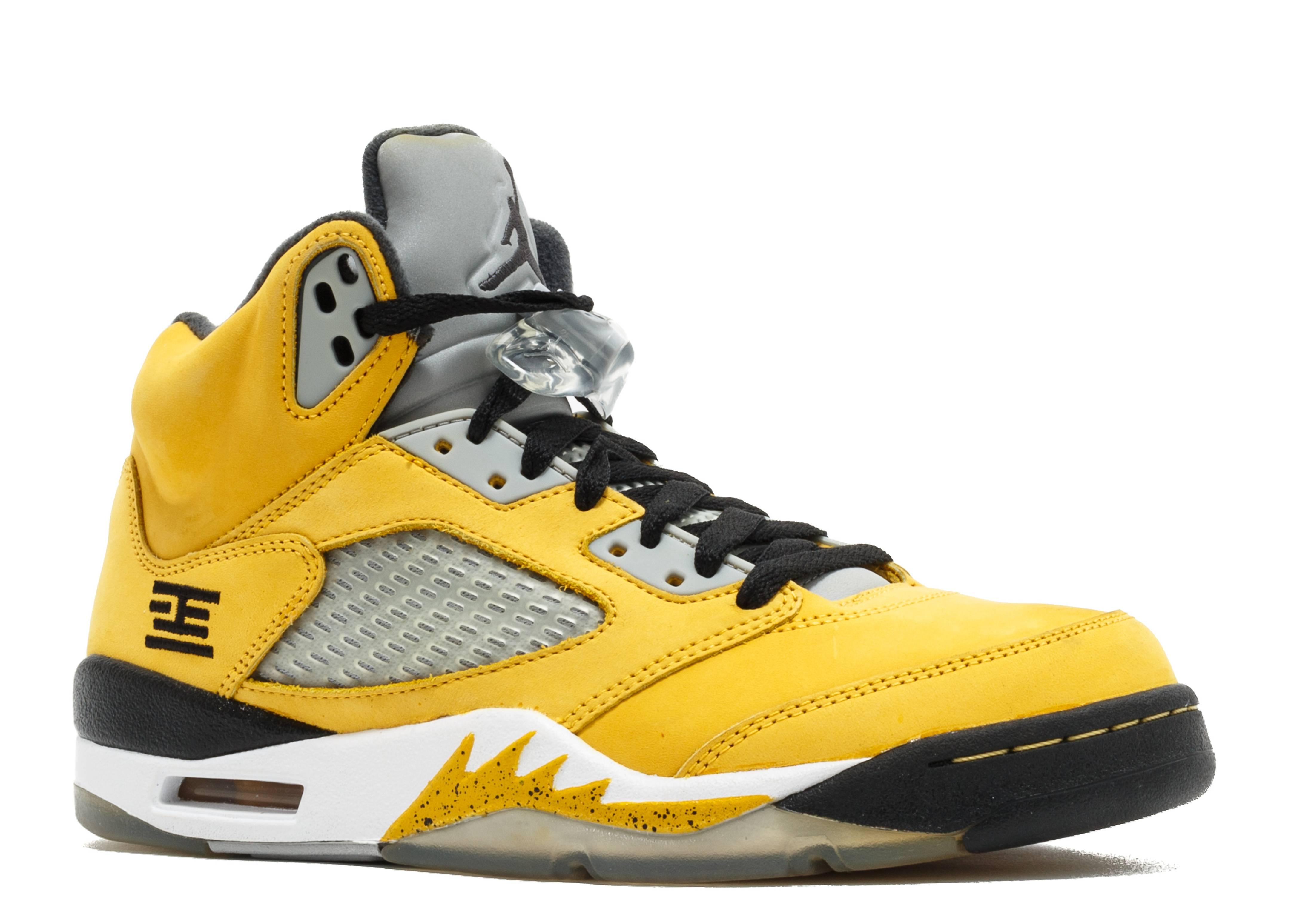 womens air jordan retro 5 grey yellow