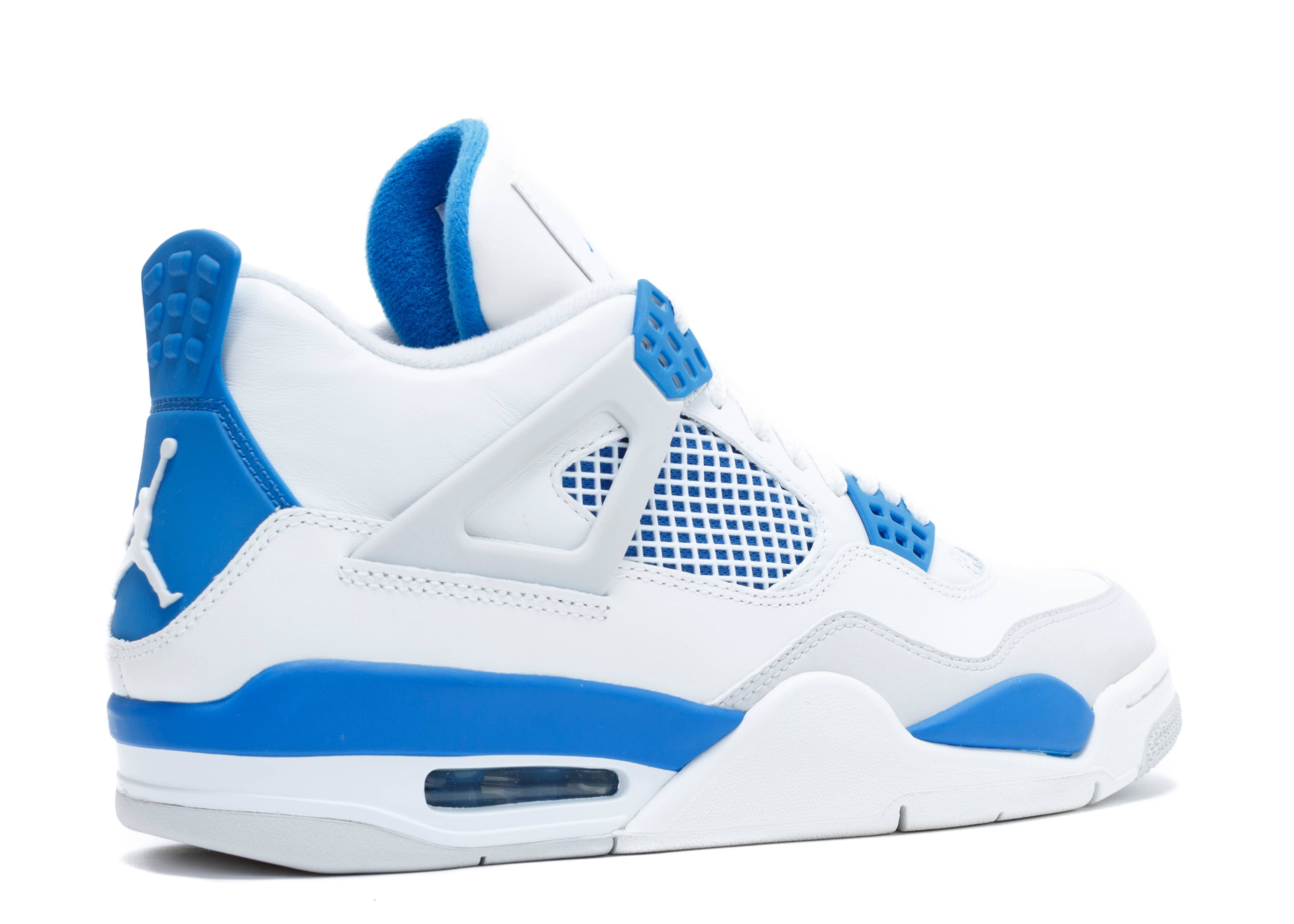 nike air jordan 4 retro - white/military blue-ntrl grey