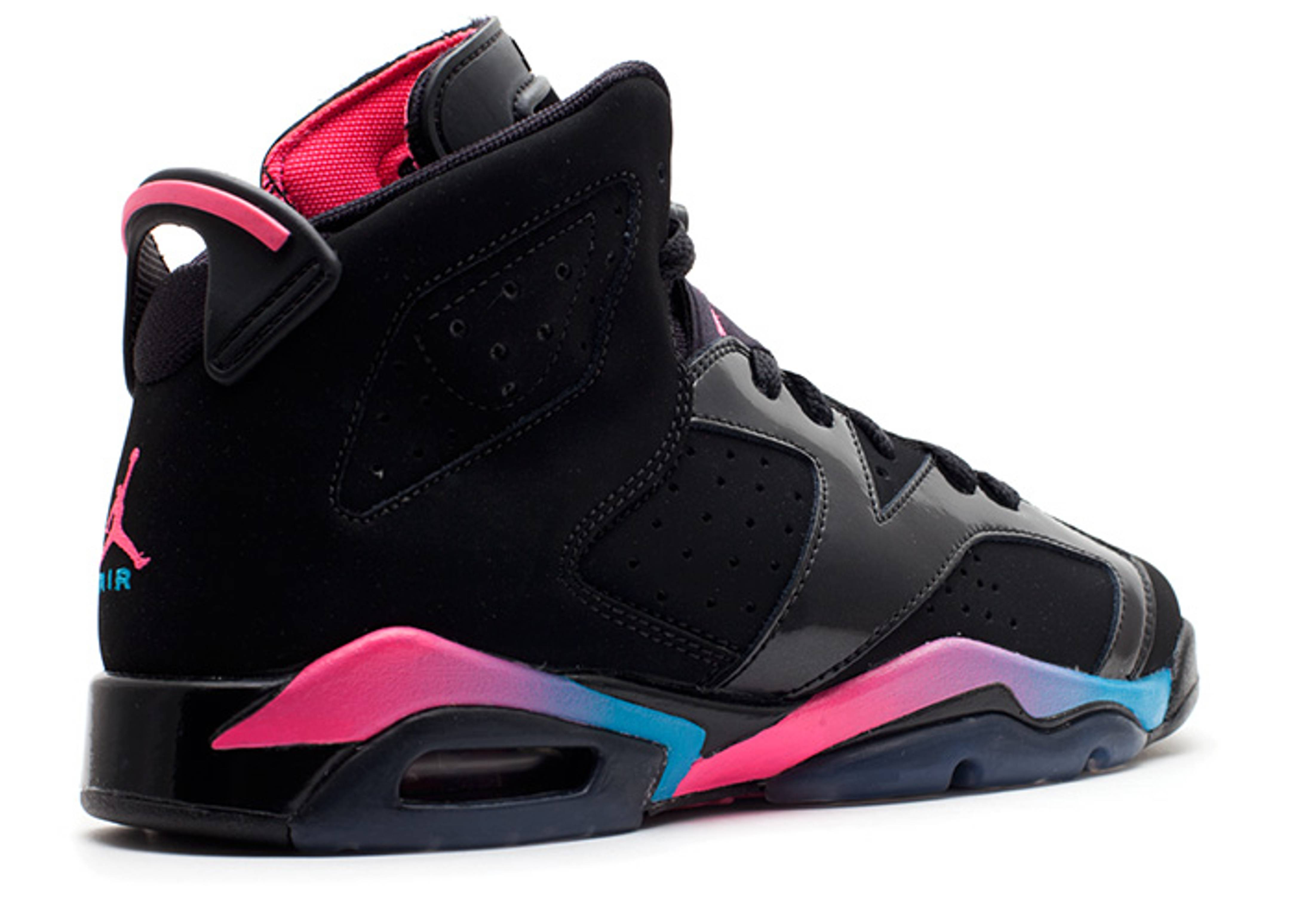 girls air jordan 6 retro (gs) - black/pink flash-marina blue | Flight Club