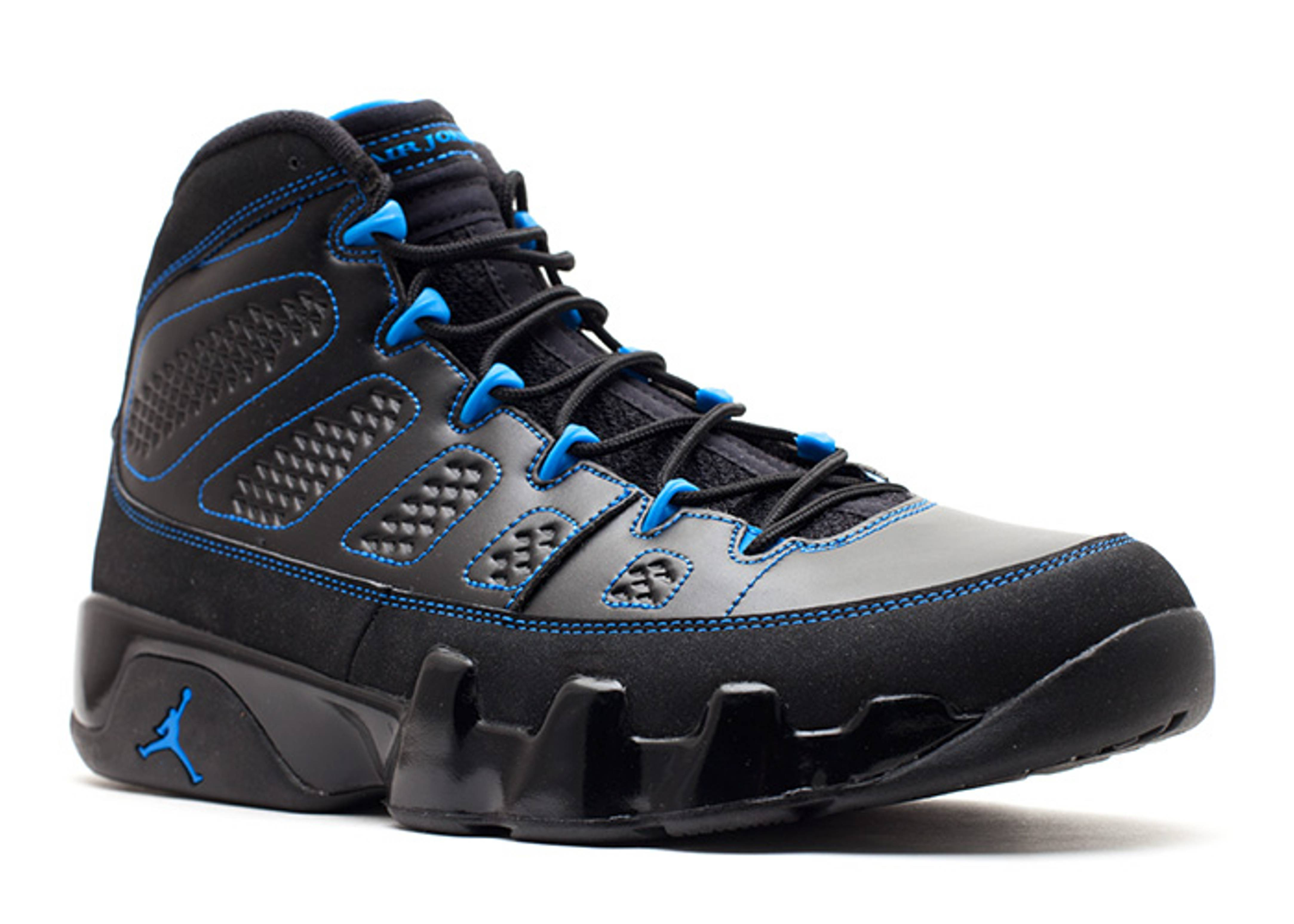 """Air Jordan 9s for sale. Air Jordan 9 Retro """"Black Bottom"""" Multilingual. The shoe being released was plain and sturdy and was the first model that Michael did not wear in an NBA seasonal game (due to the retirement). The sole had lots of details and a large 23 was stitched at the back of the shoe."""