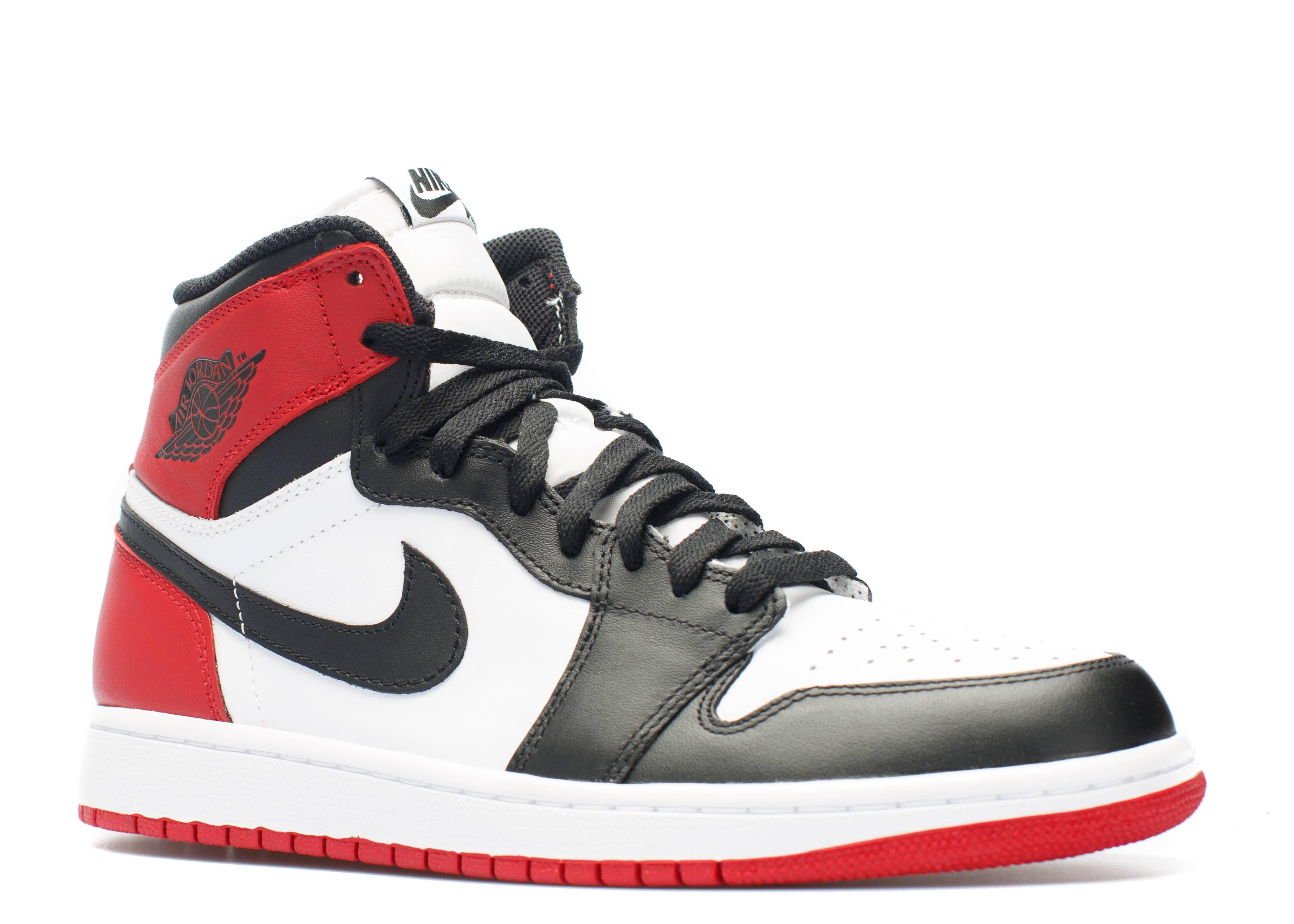 """nike air max chaussures en cuir de course - air jordan retro 1 high og """"black toe"""" - white/black-gym red - Air ..."""