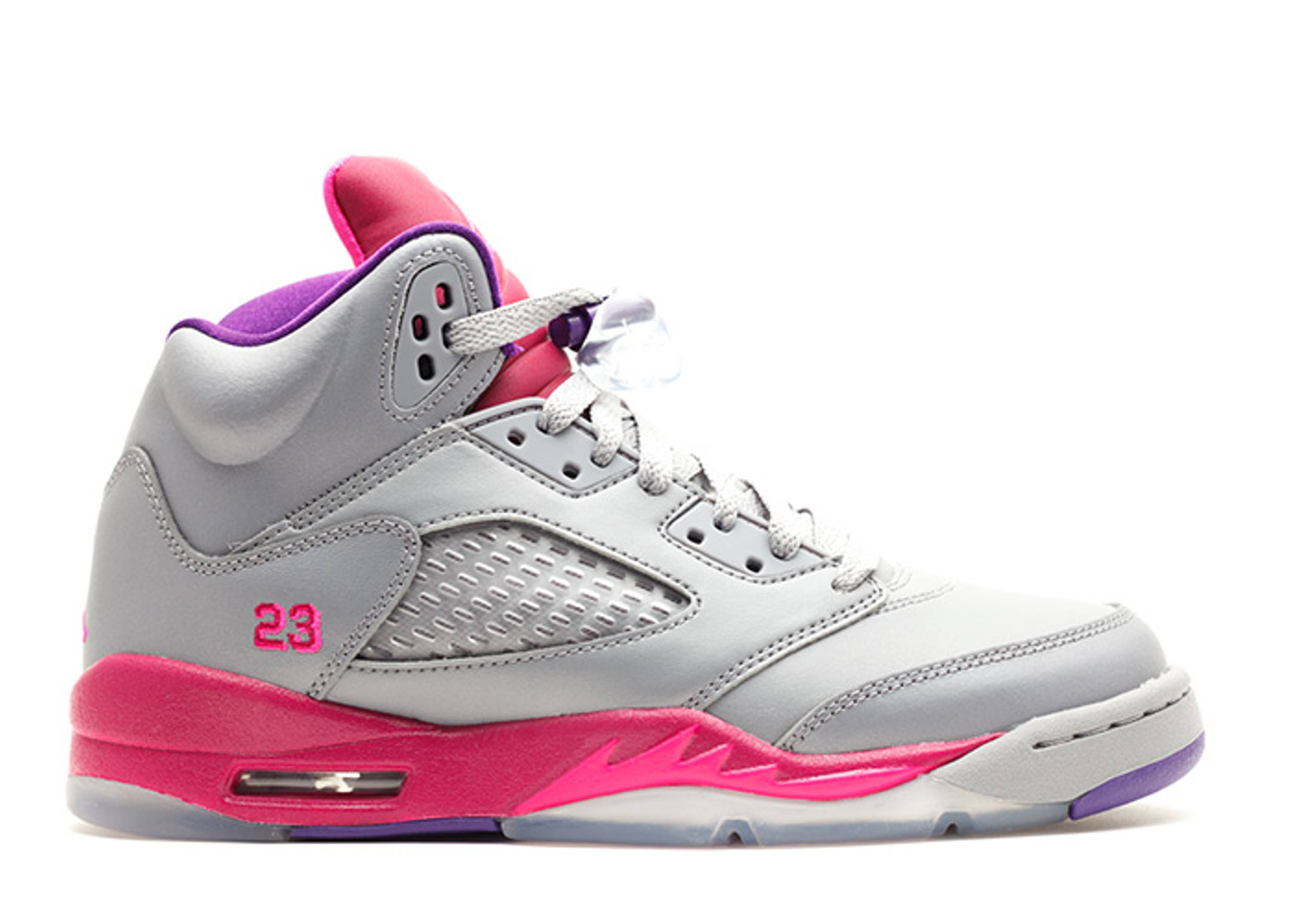 "girls air jordan 5 retro (gs) ""Cement Grey Pink"""