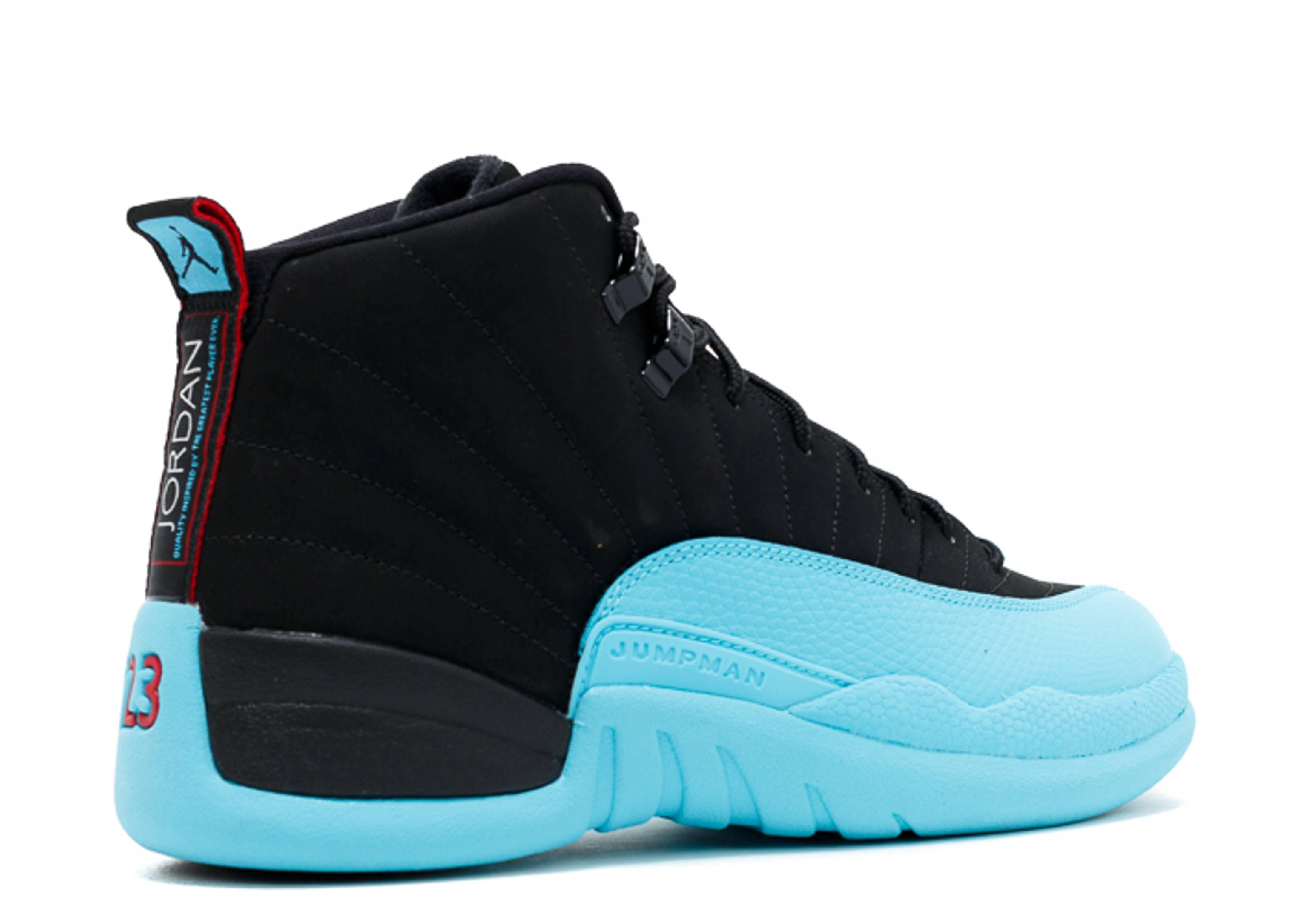 black and blue jordan 12