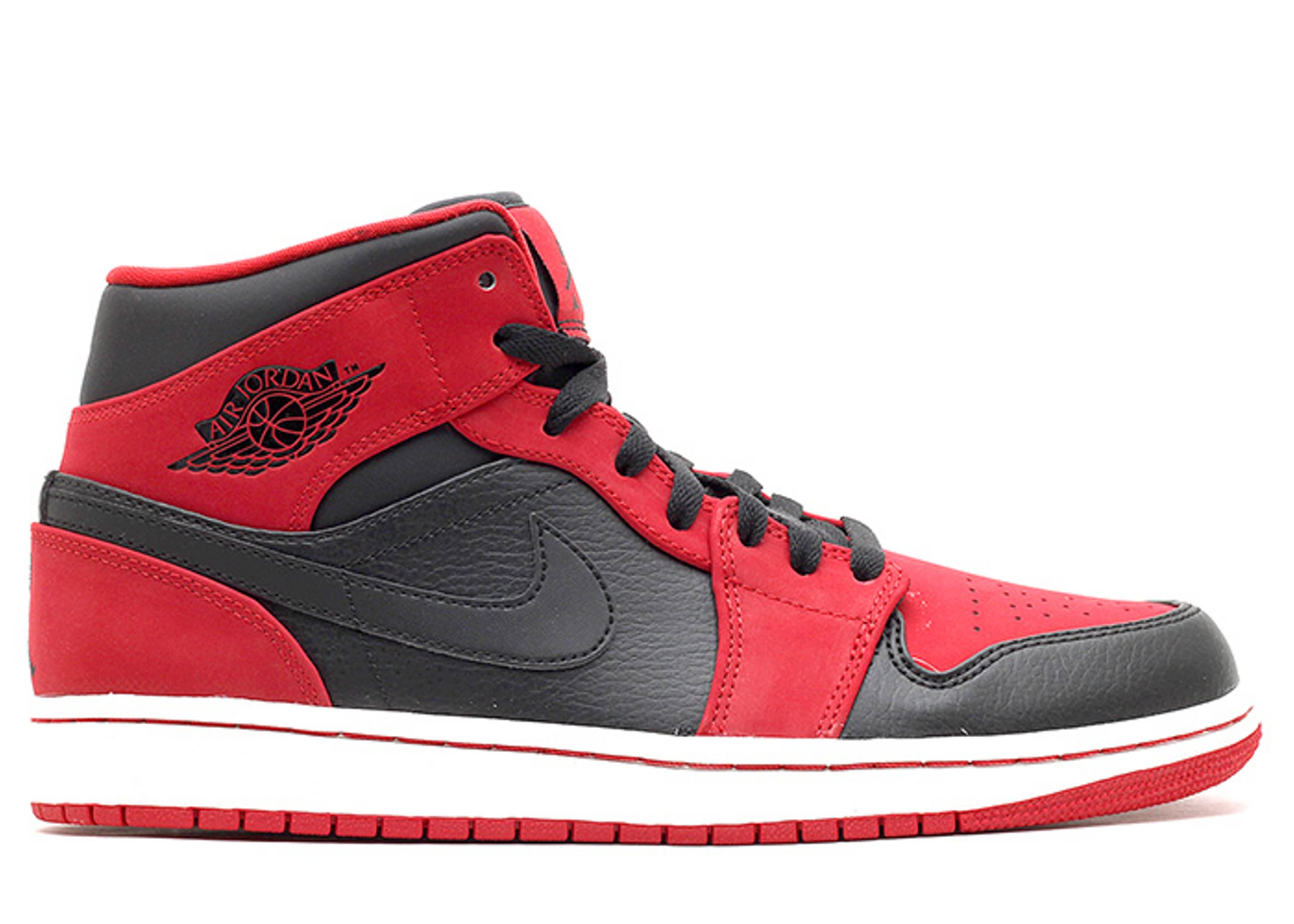 air jordan 1 mid black black gym red. Black Bedroom Furniture Sets. Home Design Ideas