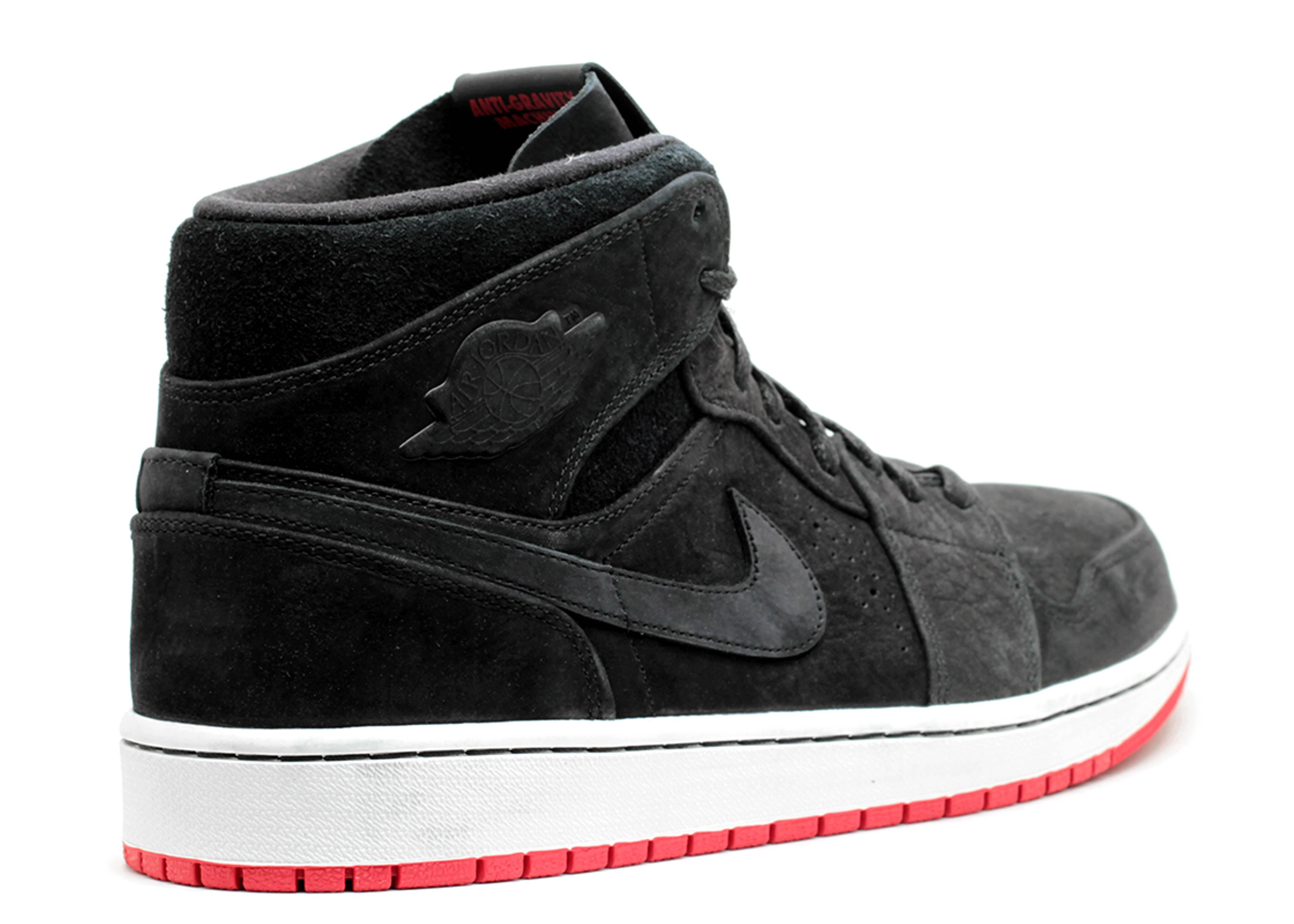 Nike Air Jordan 1 Mi Nouveau Noir / Noir-gym Rouge-voile