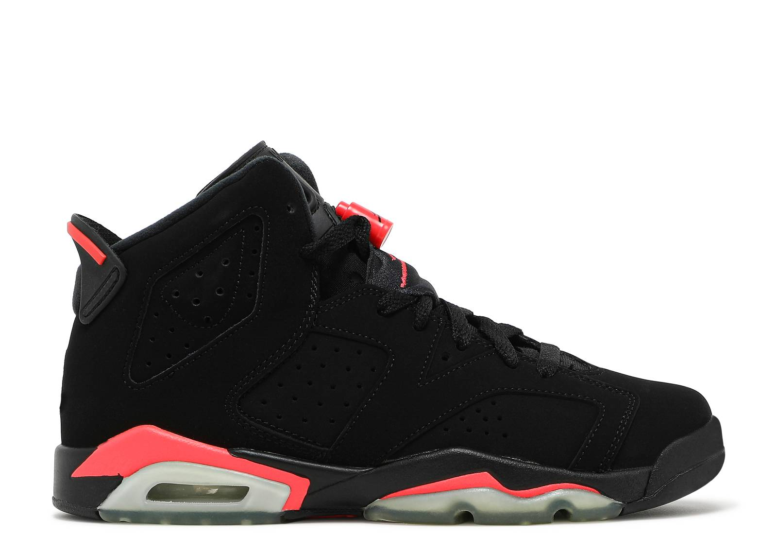 nike air jordan 6 retro bg (gs) bred black infrared sauna
