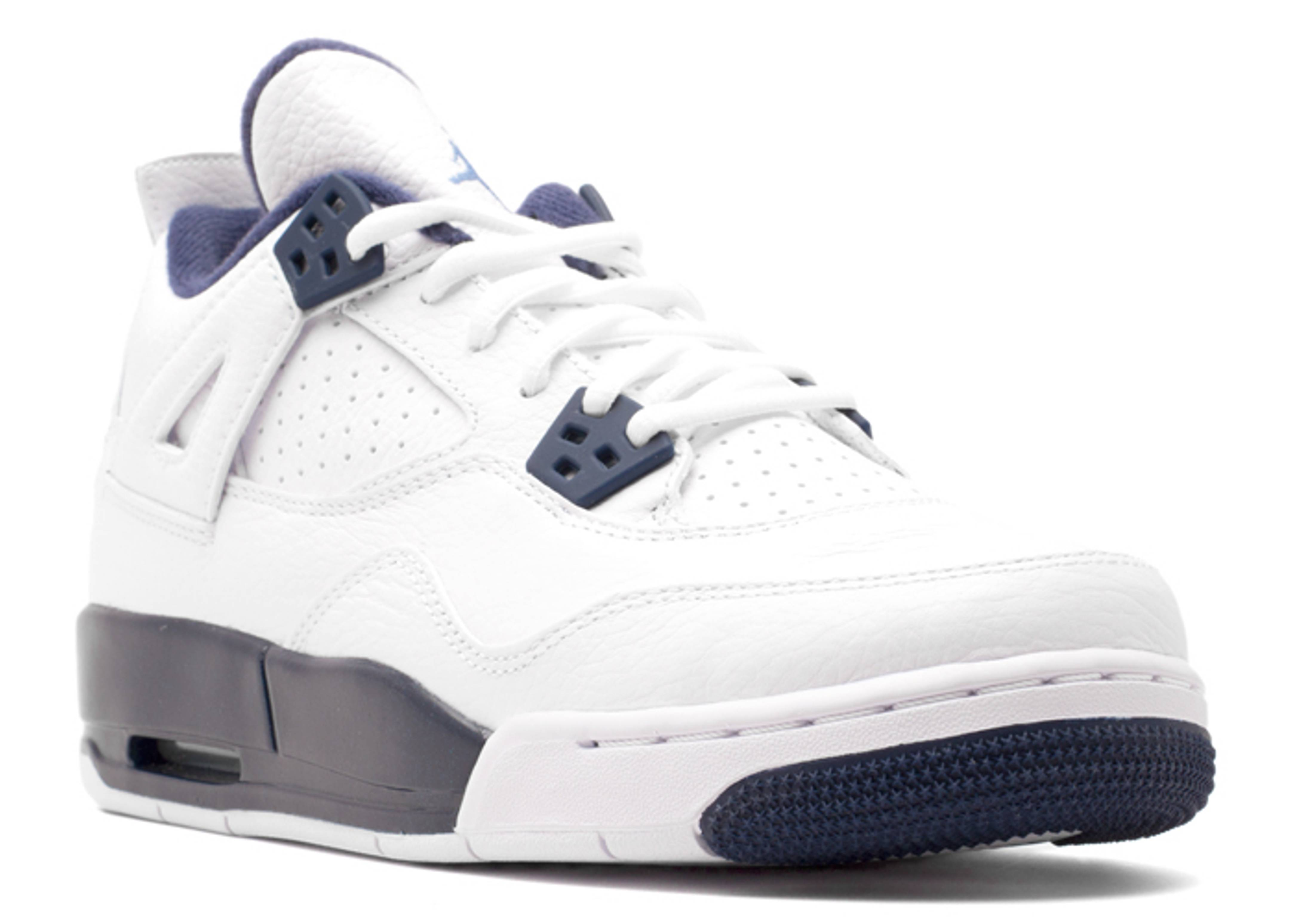 Nike Air Jordan 4 Retro Bg Gs White Legend Blue Midnight