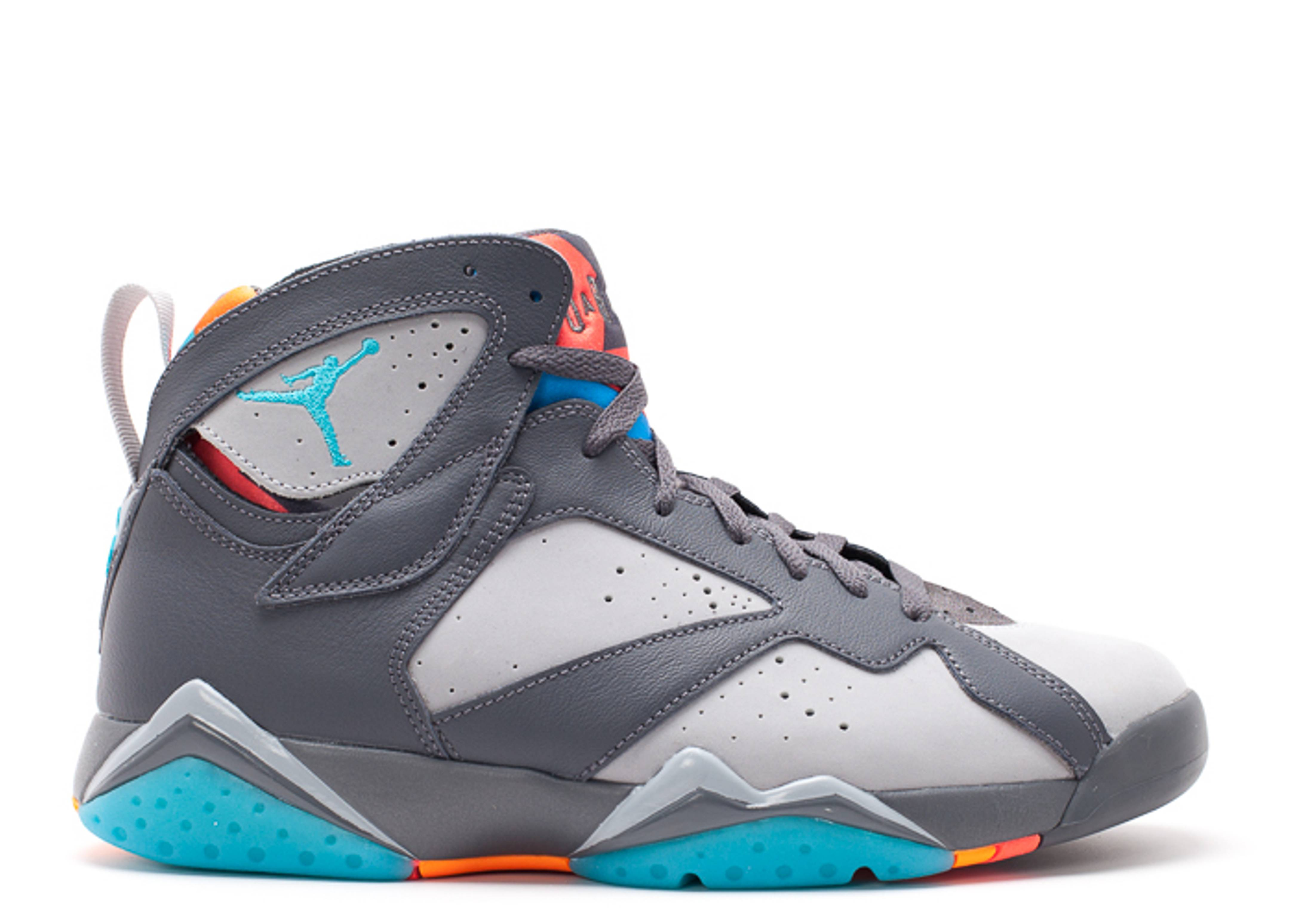Air Jordan 7 Retro Barcelona Days Air Jordan 304775 016 Dark Grey Wolf Grey Total Orange Turquoise Blue Flight Club