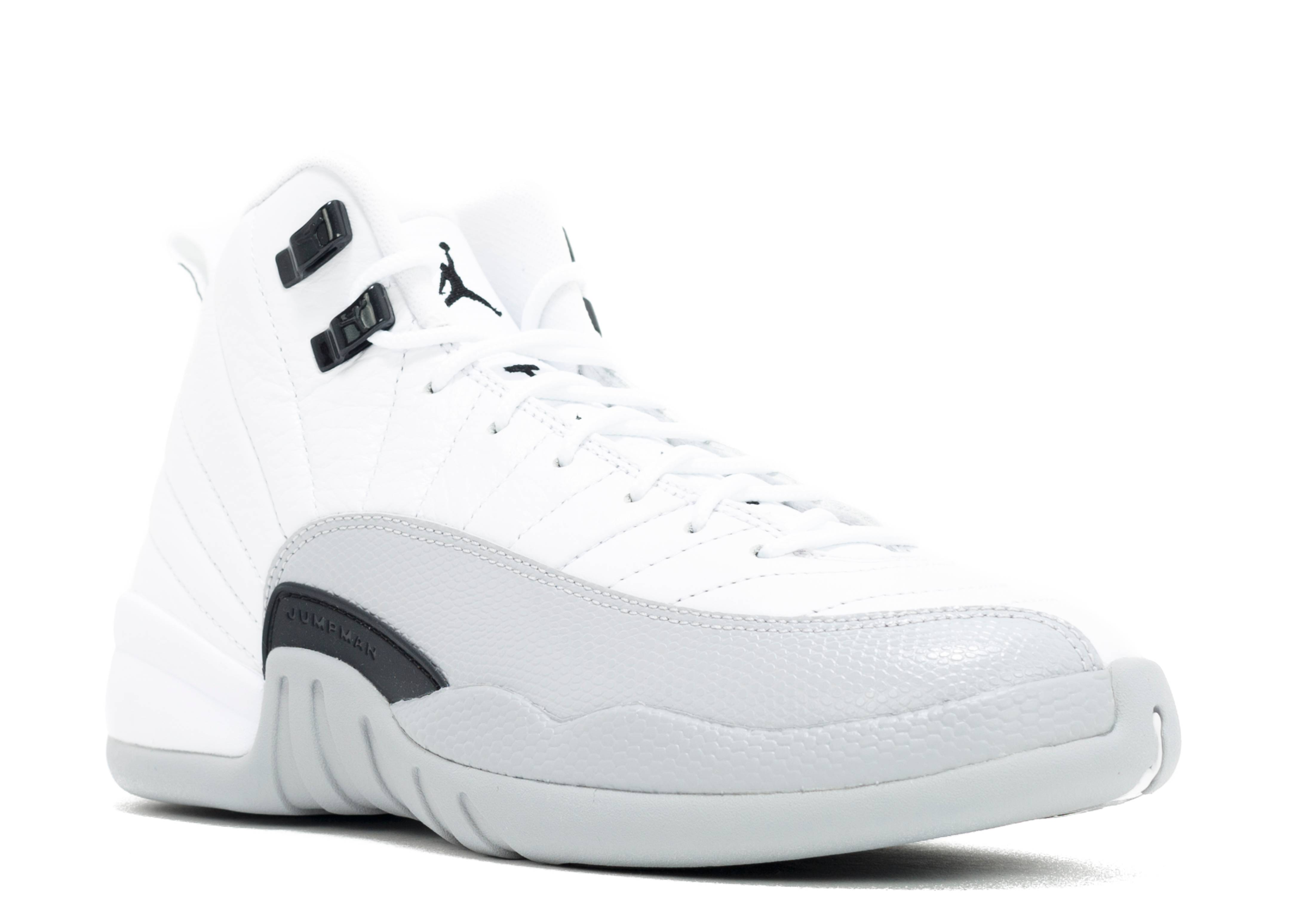 grey and white jordan 12