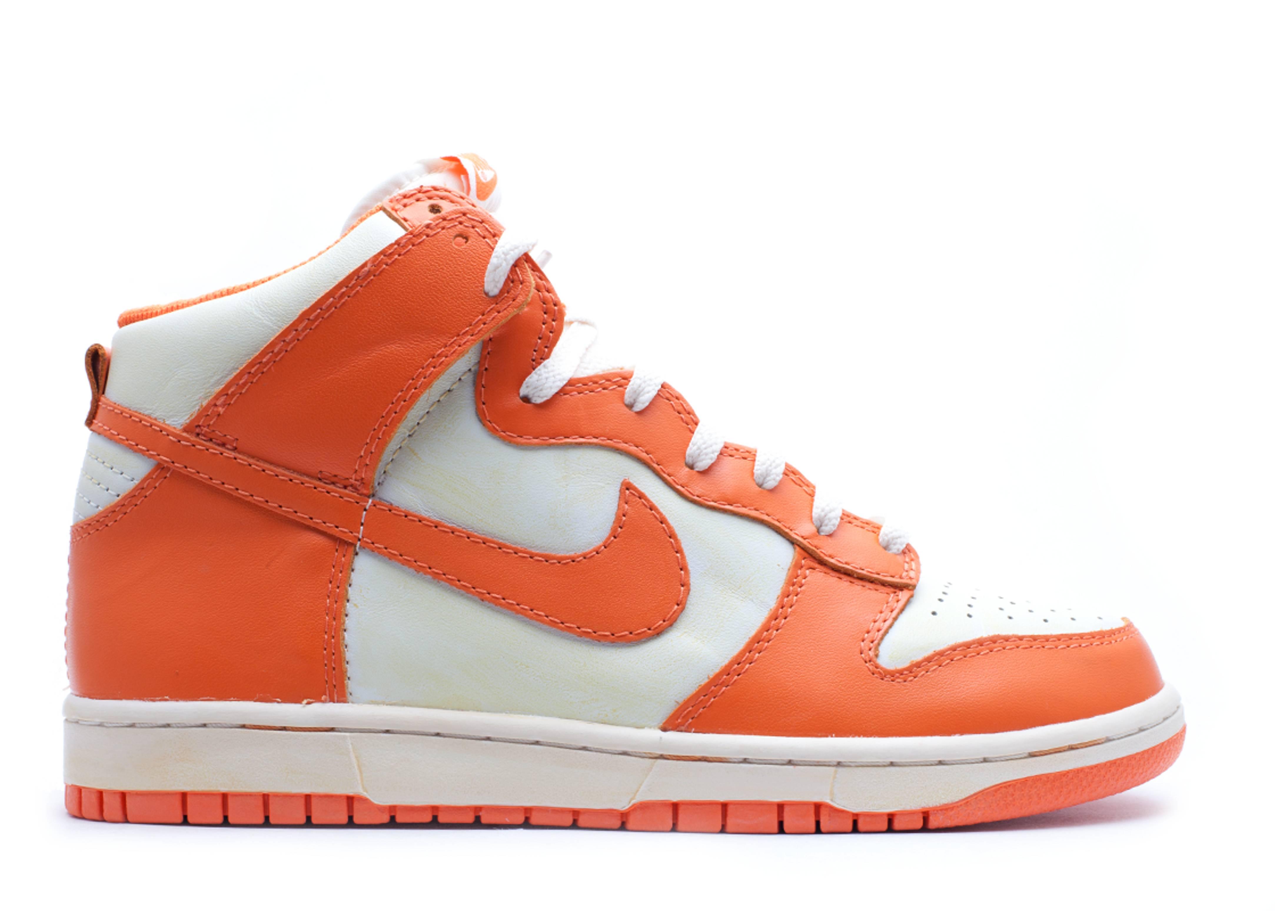 orange and white nike dunks high
