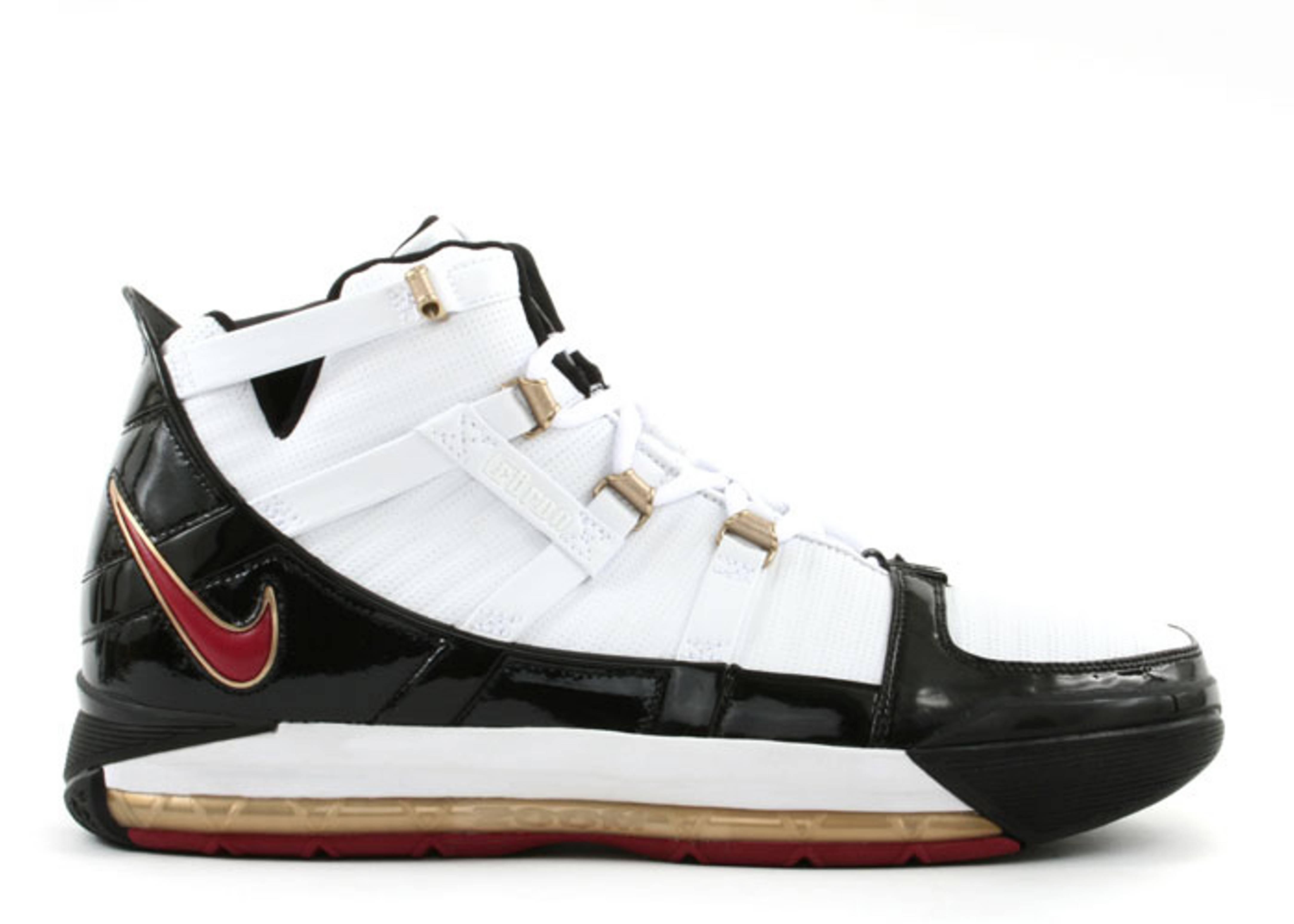 Pre-owned Nike Zoom Lebron 3 White Black Crimson Size 10.5