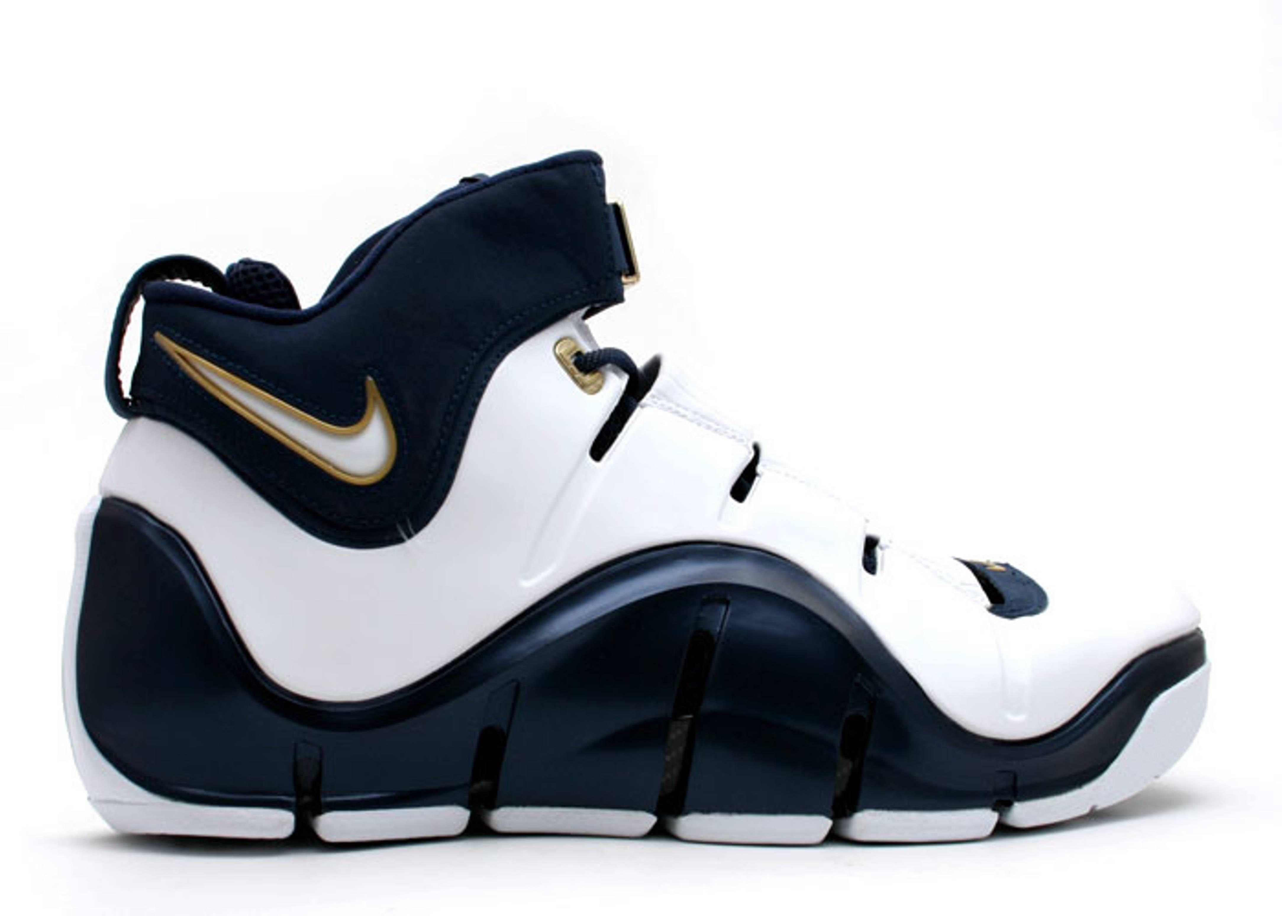 Nike LeBron 4 West Coast Sneakers (White/White-Midnight Navy-Metallic Gold)