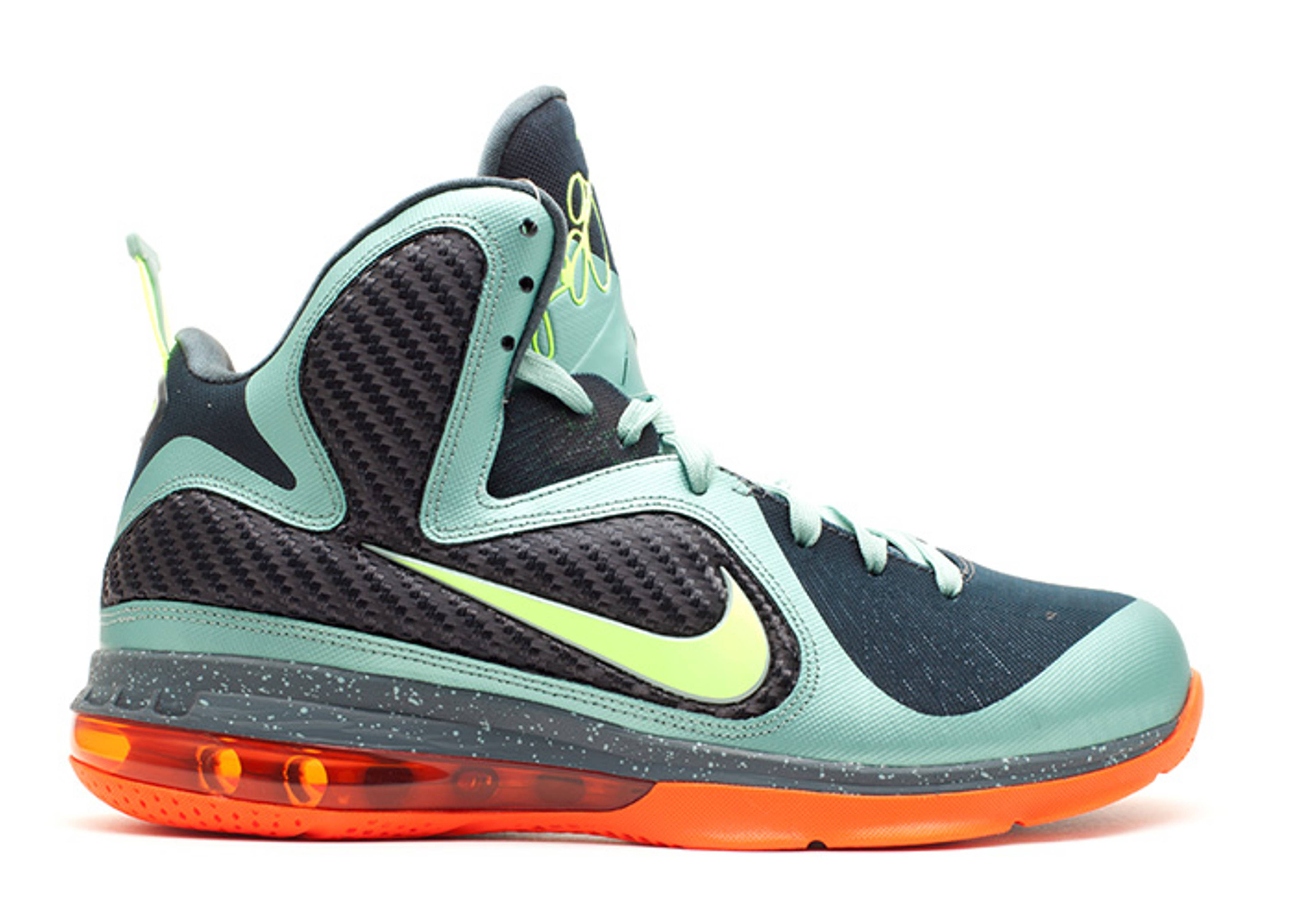 Men's Nike LeBron 9 IX Cannon Volt Slate Blue Orange Sneakers : N33r2270