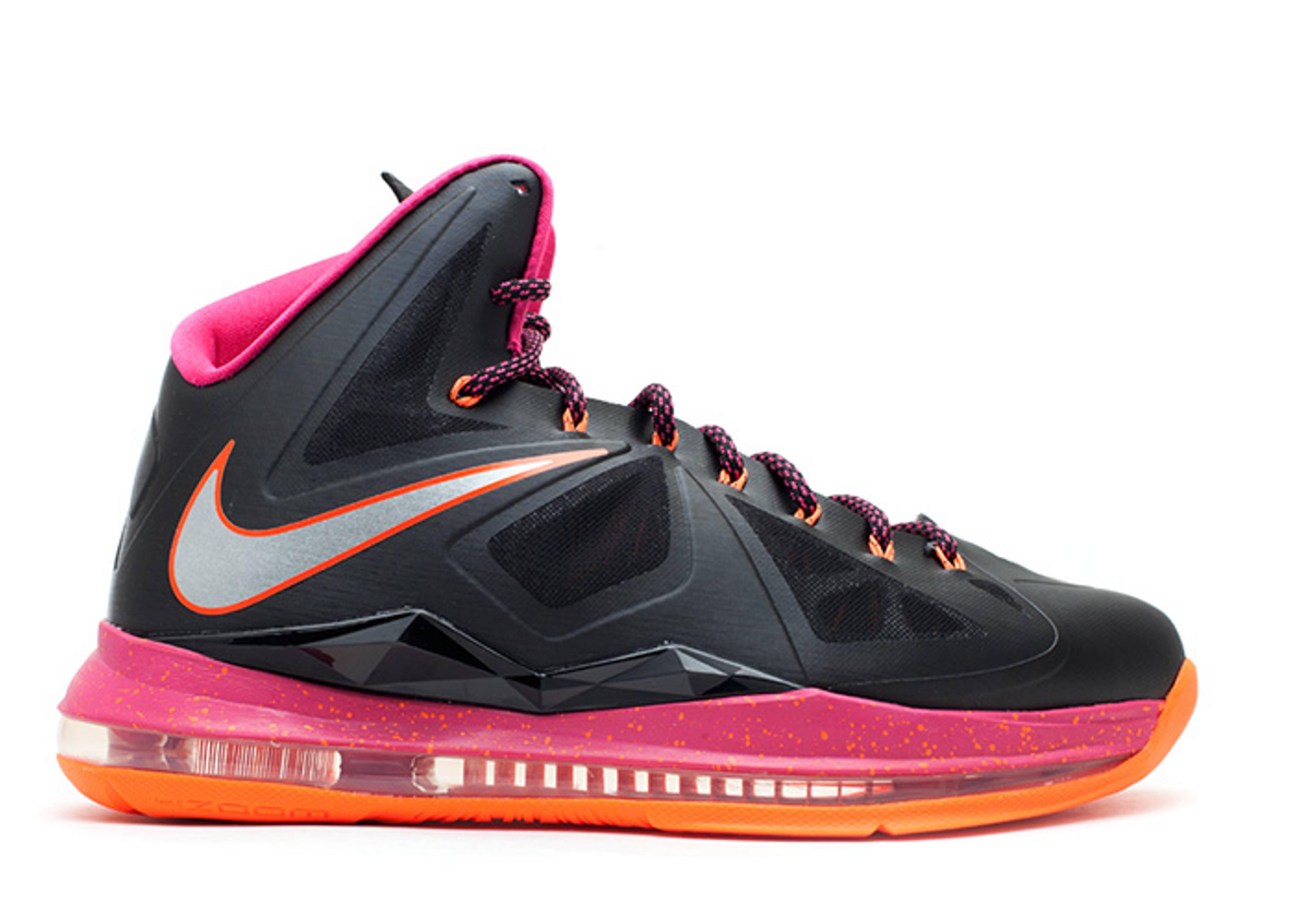 Nike LeBron X Floridian Sneakers (Black/Metallic Silver-Total Orange-Fireberry)