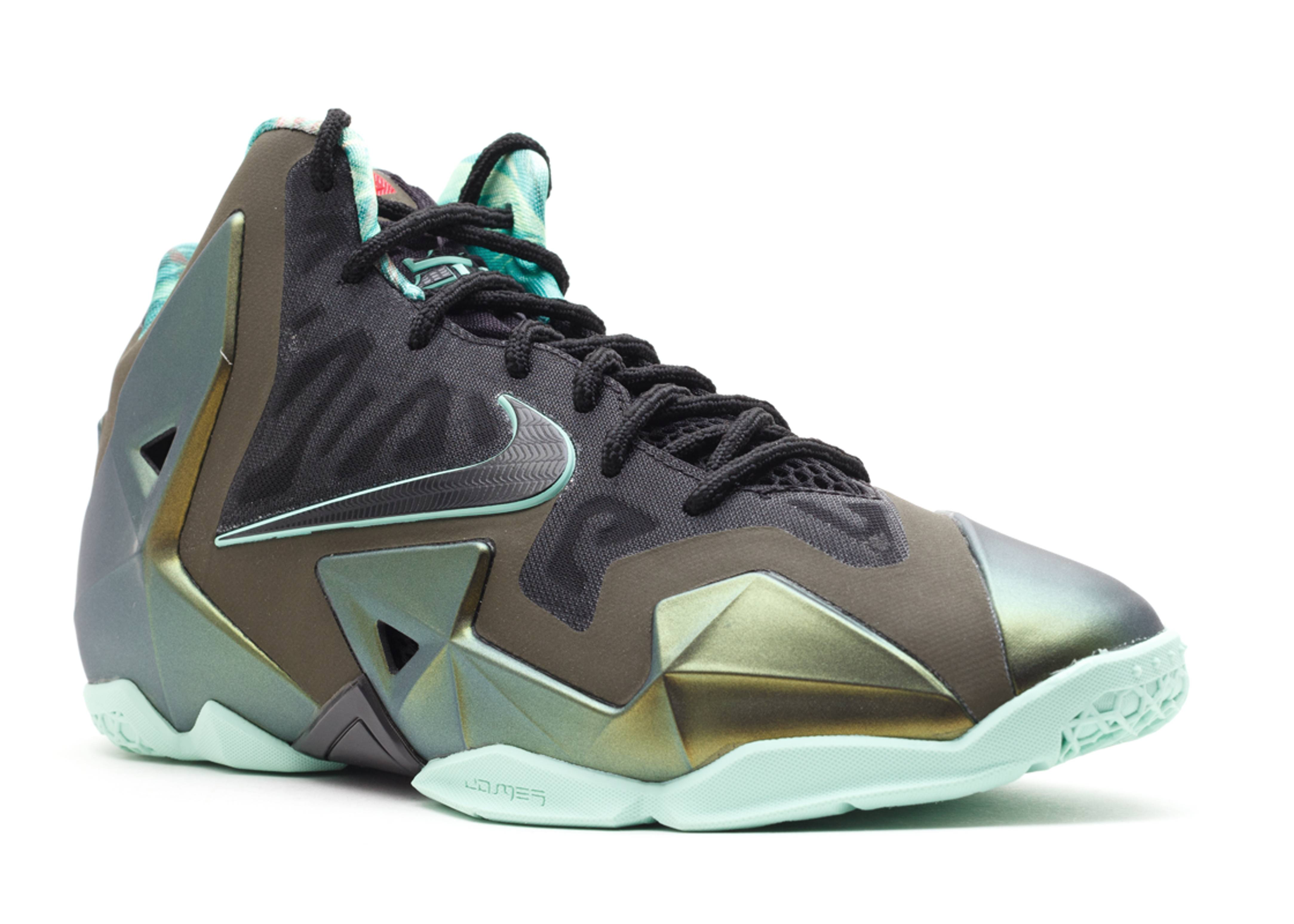 "lebron 11 (gs) ""king's pride"" - prcht gld/artic grn-drk ..."