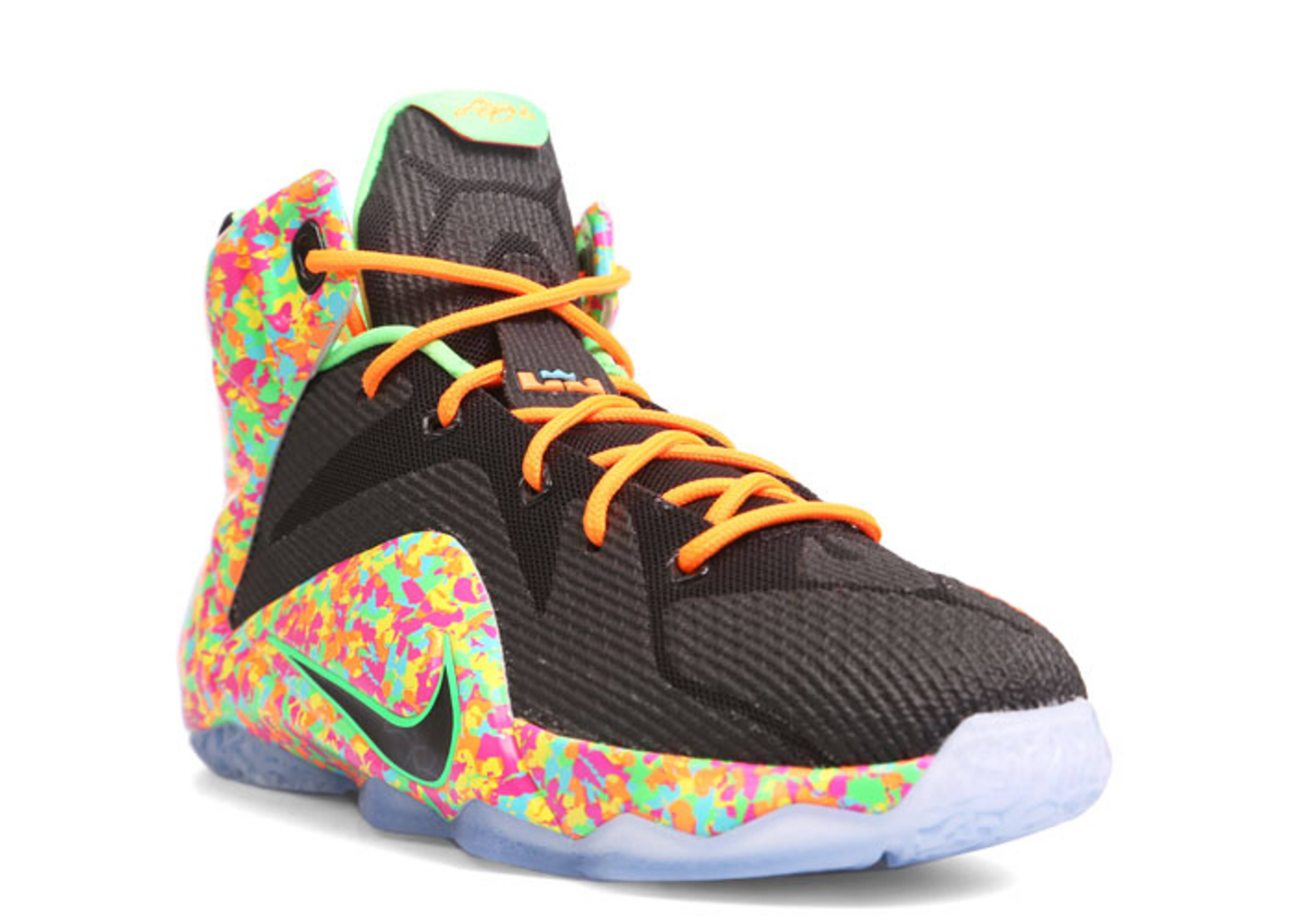 new product f74e5 992cc promo code for lebron 12 fruity pebbles brown b834e be298