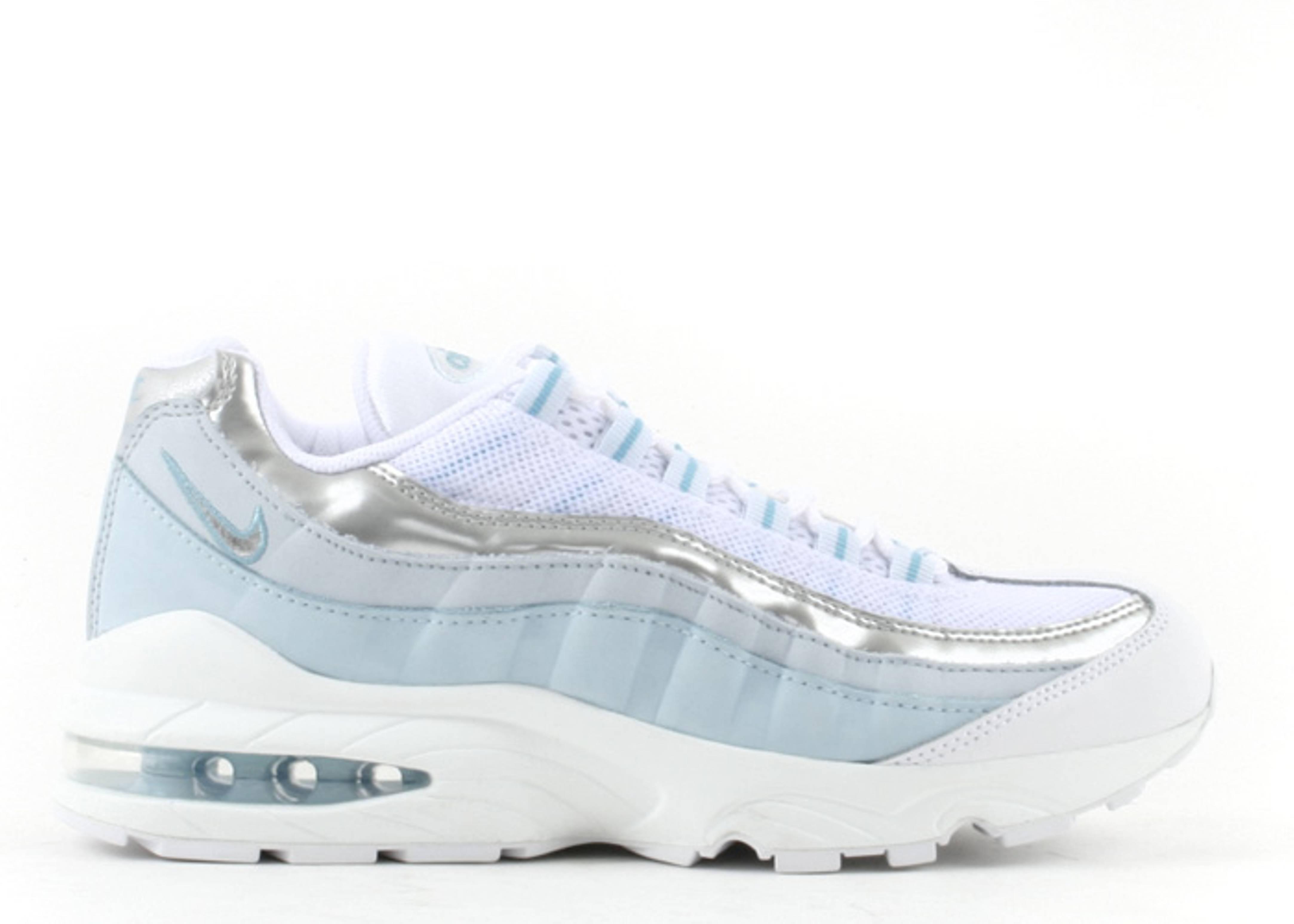 700a918299 Air Max 95 Le (gs) - Nike - 310830 101 - white/metallic silver-flash-sky  blue   Flight Club