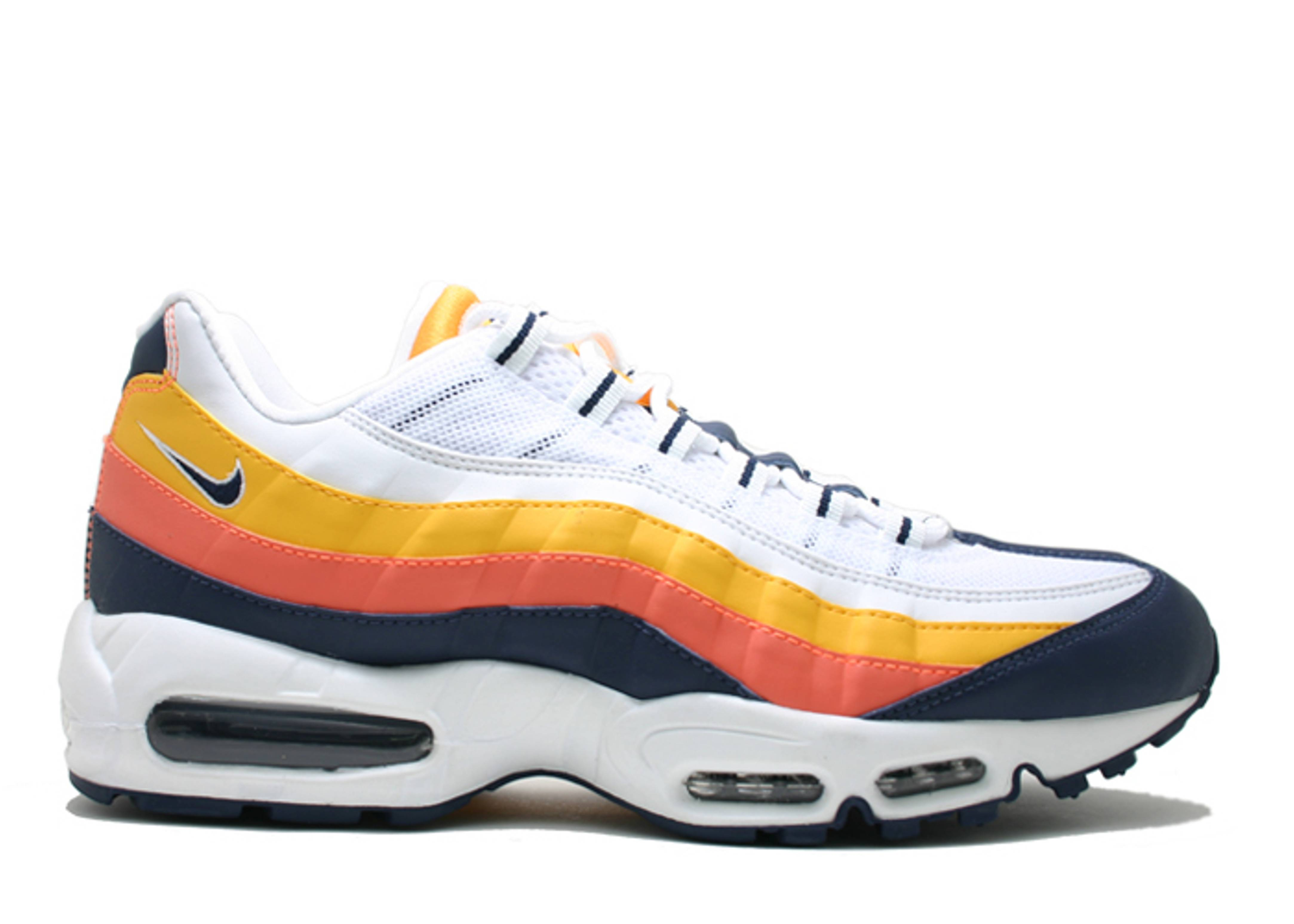 Nike Air Max 95  Men  White  Midnight Navy  Bright Orange  Gold