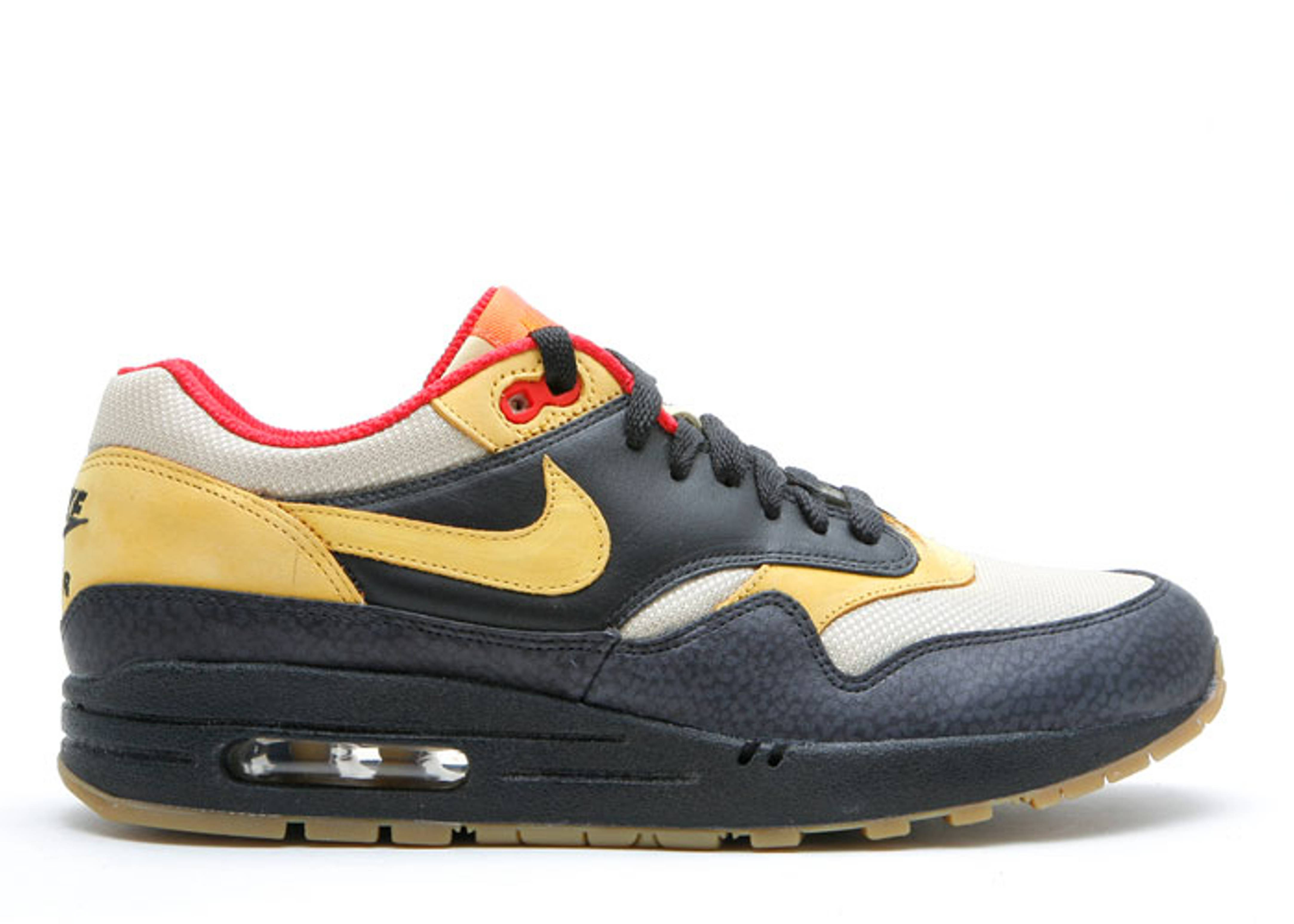 Nike Unisex's Running Shoes Air Max 1 Supreme Black / Yellow Ochre-Gold Dust