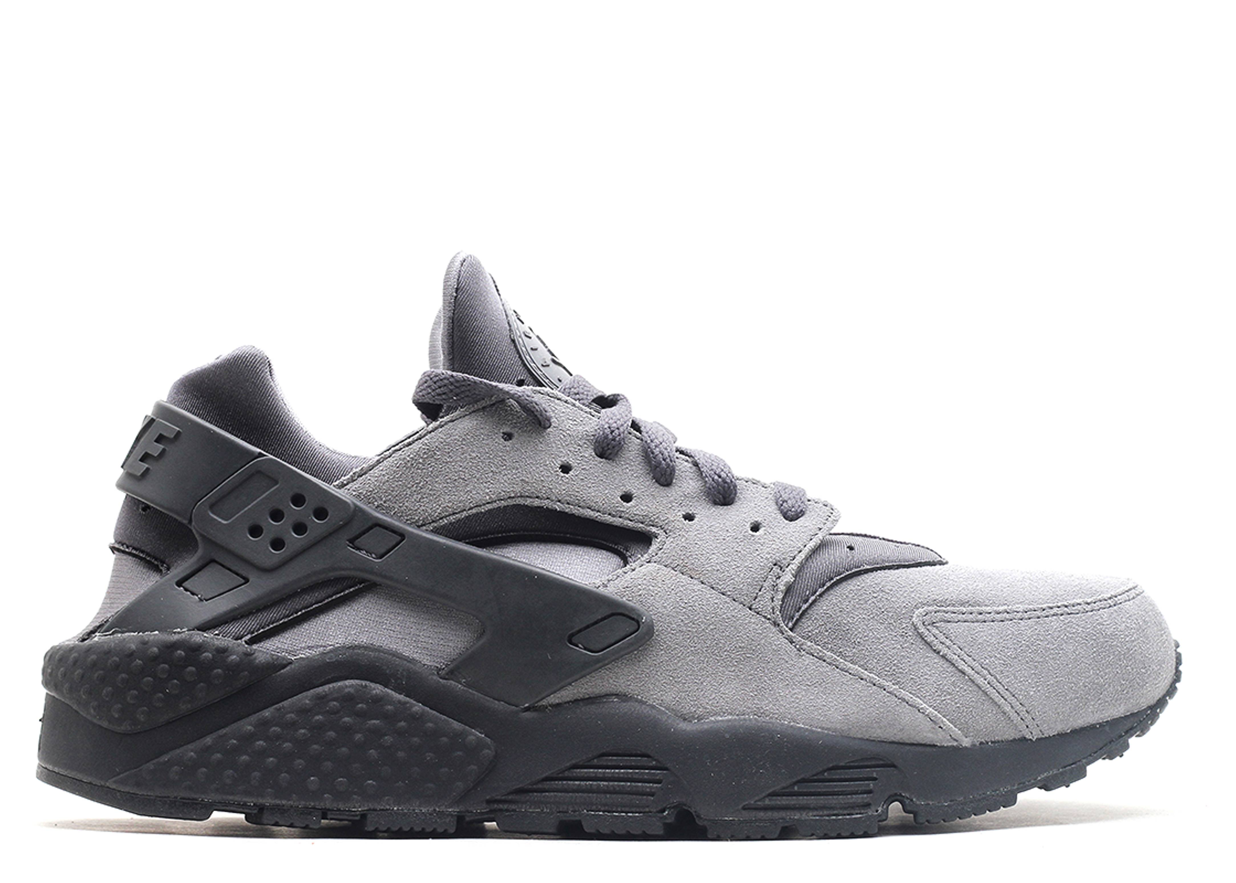 nike huarache gray and black