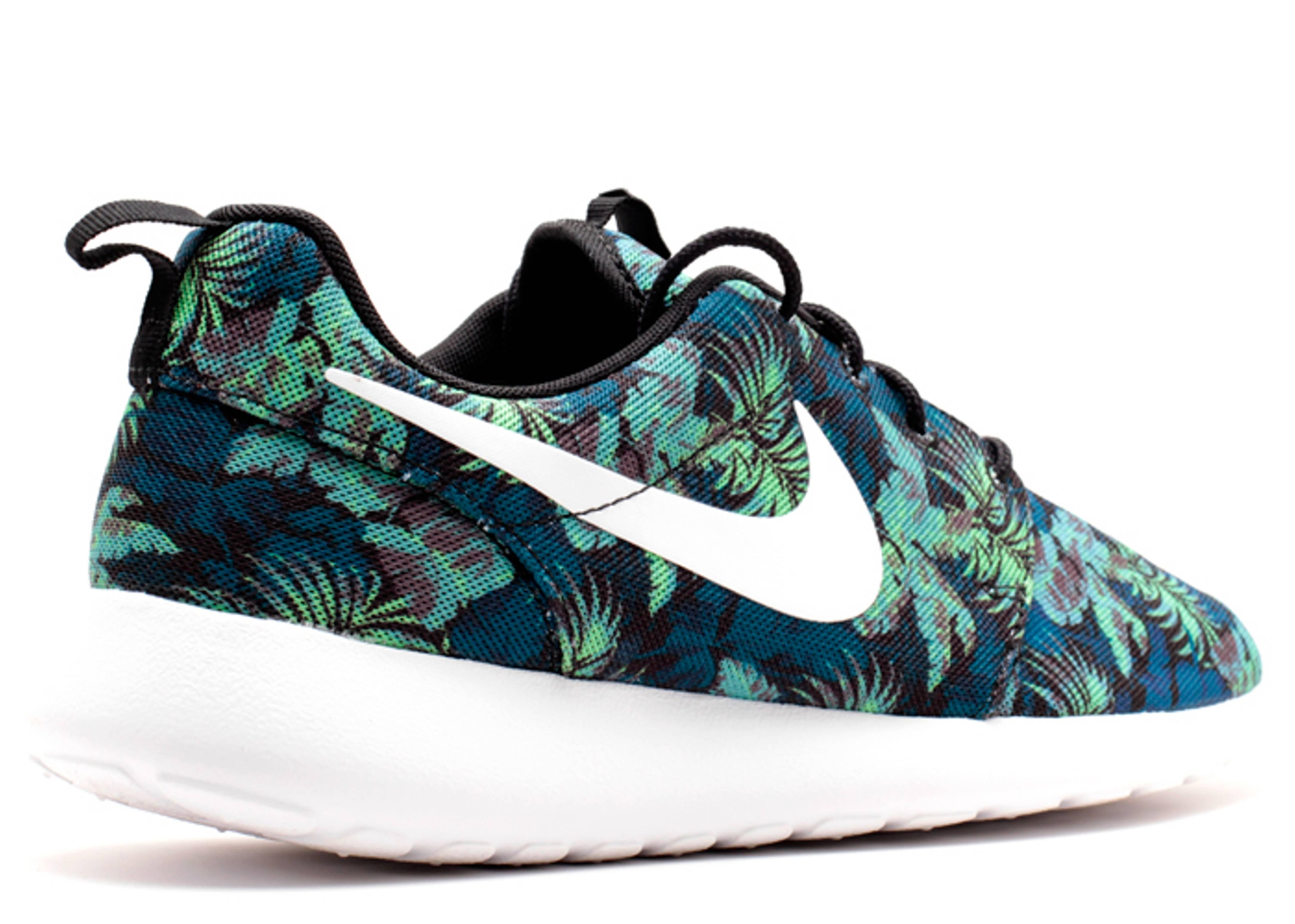 Nike Roshe Run Print Space Blue White Black Poison Green
