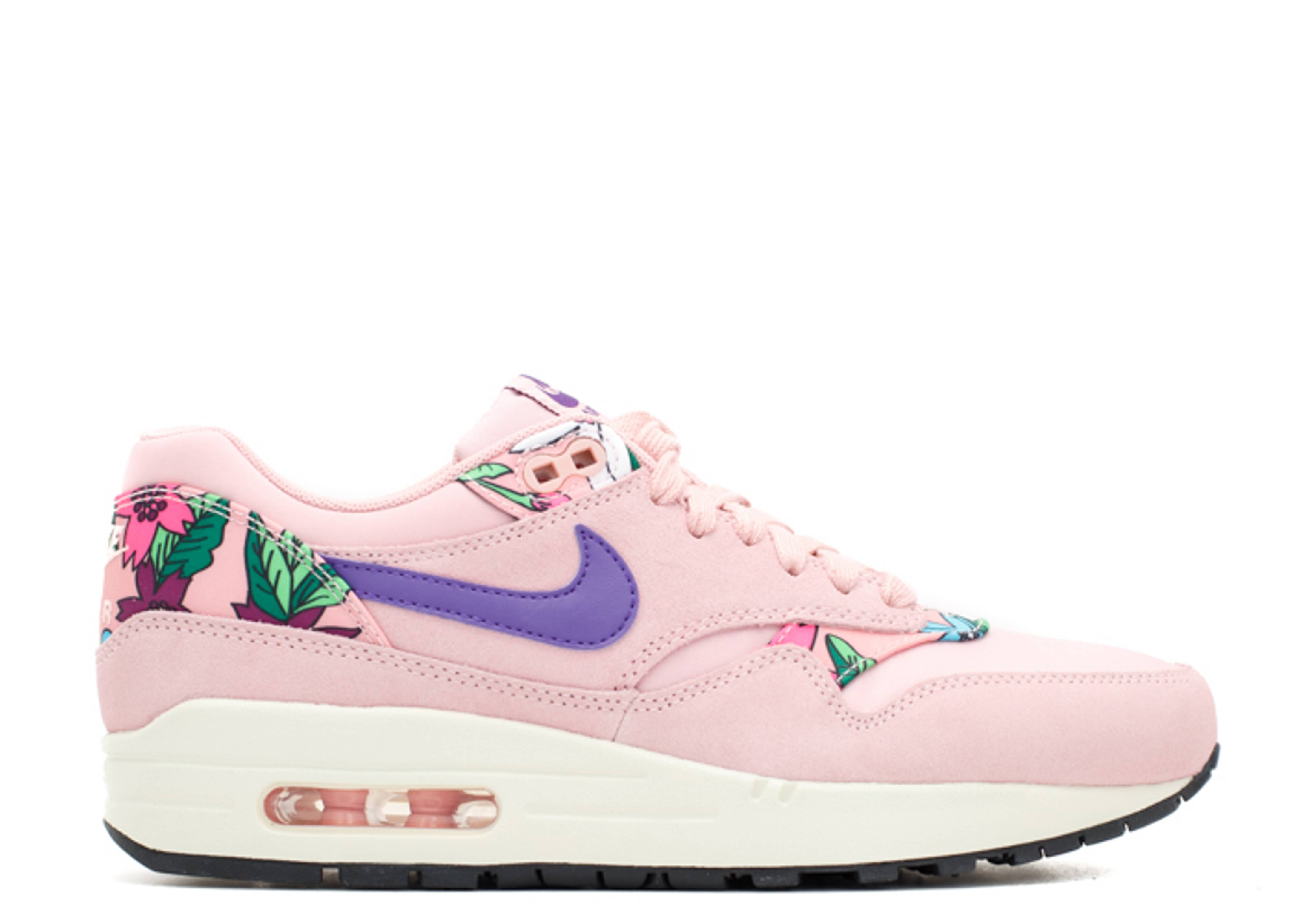 Nike Wmns Air Max 1 Print *Aloha Pack* (Pink Glaze Varsity Purple Sail Black)