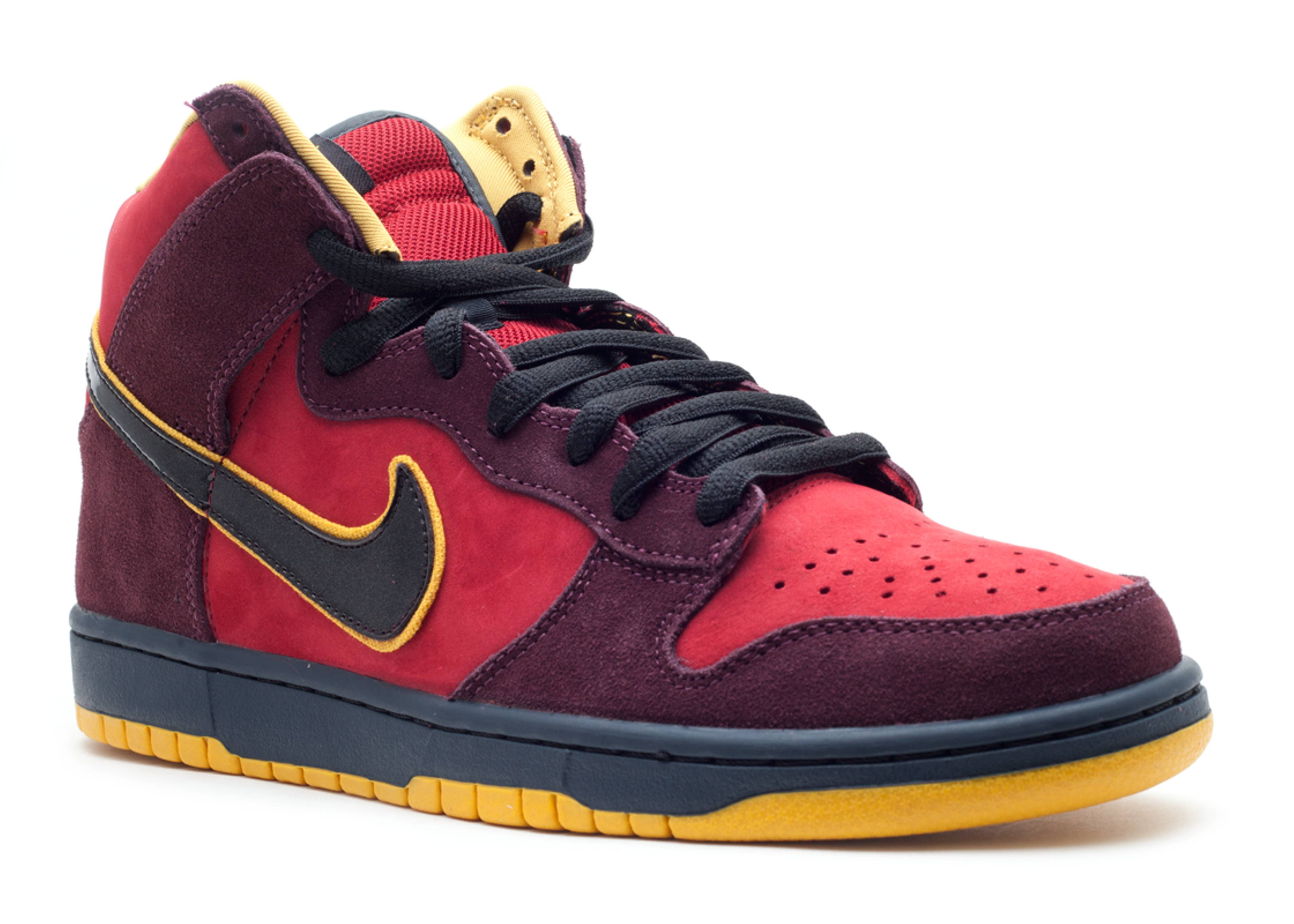 newest 2e900 97dbd back to nike dunk high black sport red and yellow
